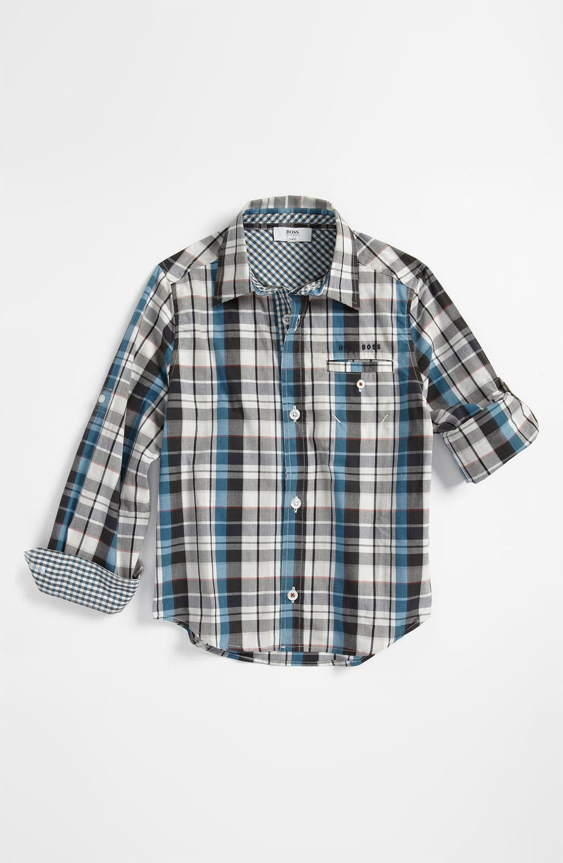 Main Image - BOSS Kidswear Check Print Poplin Shirt (Little Boys & Big Boys)