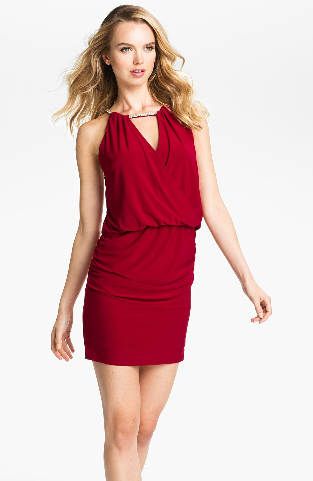 Alternate Image 1 Selected - Betsy & Adam Embellished Keyhole Surplice Jersey Dress