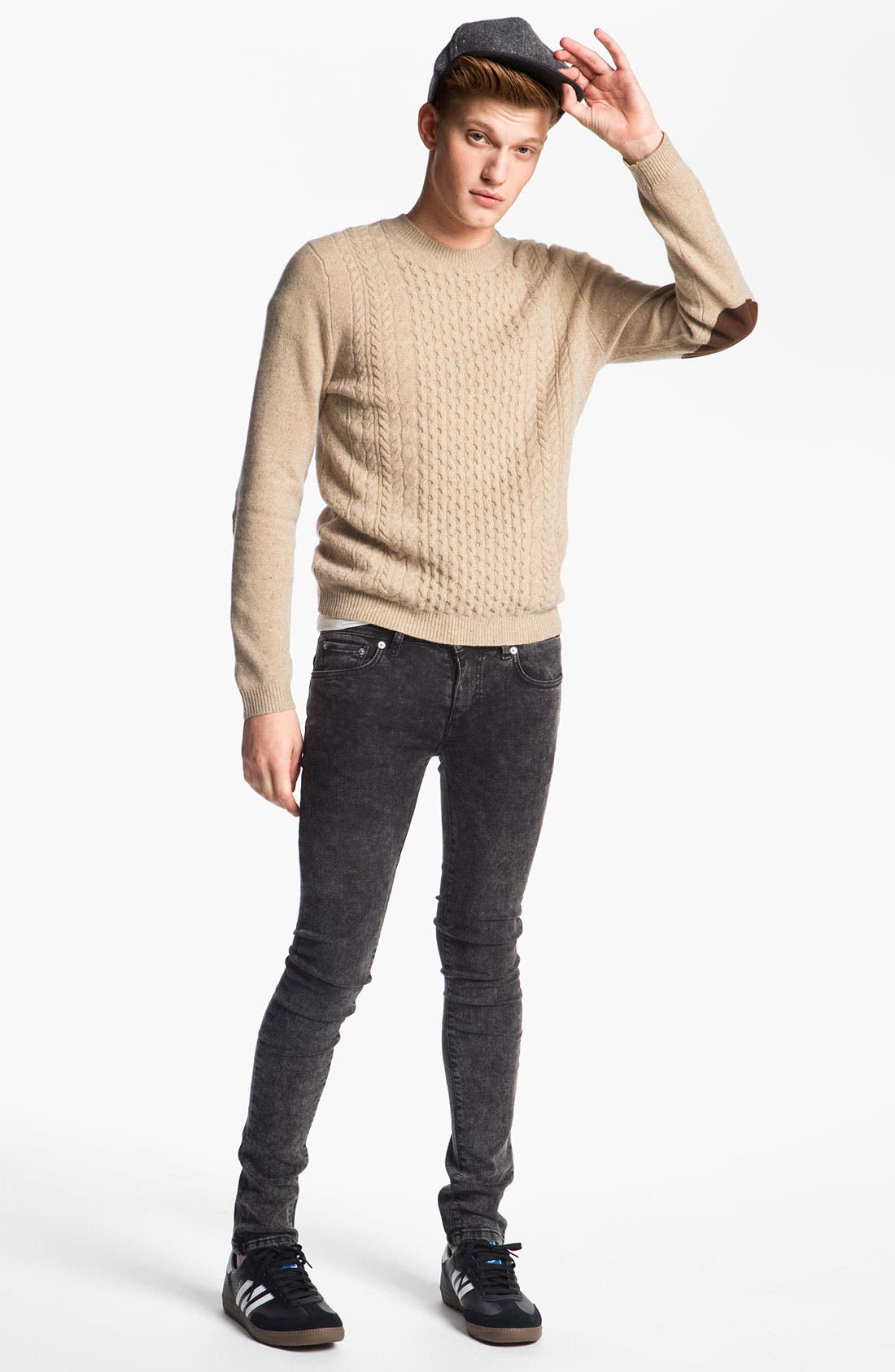 Alternate Image 4  - Topman Cable Knit Crewneck Sweater