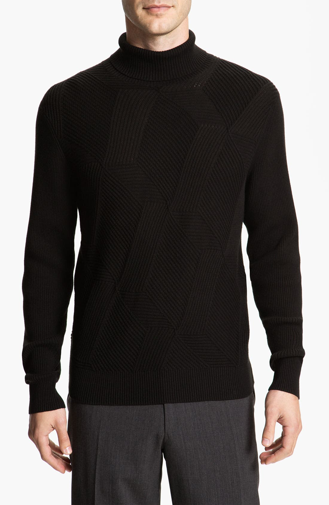 Alternate Image 1 Selected - Calibrate Cross Ribbed Cotton & Cashmere Turtleneck Sweater