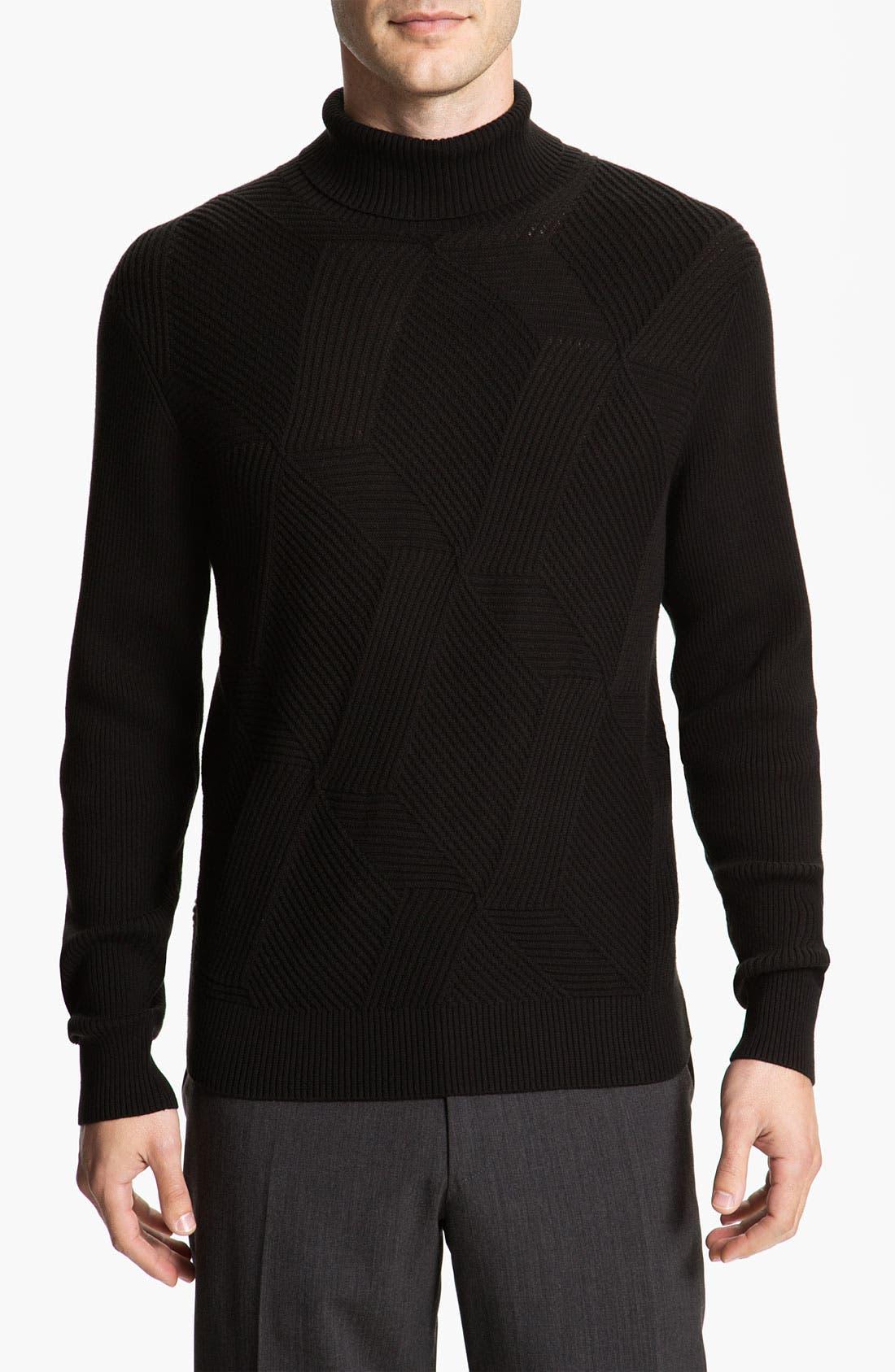 Main Image - Calibrate Cross Ribbed Cotton & Cashmere Turtleneck Sweater