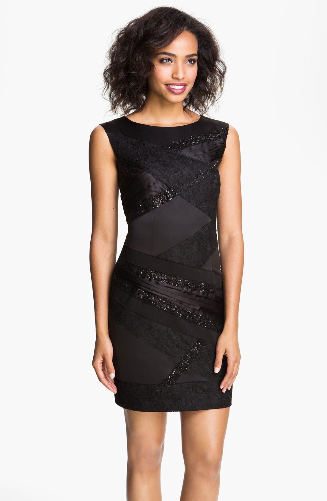 Main Image - Jessica Simpson Back Cutout Mixed Media Sheath Dress