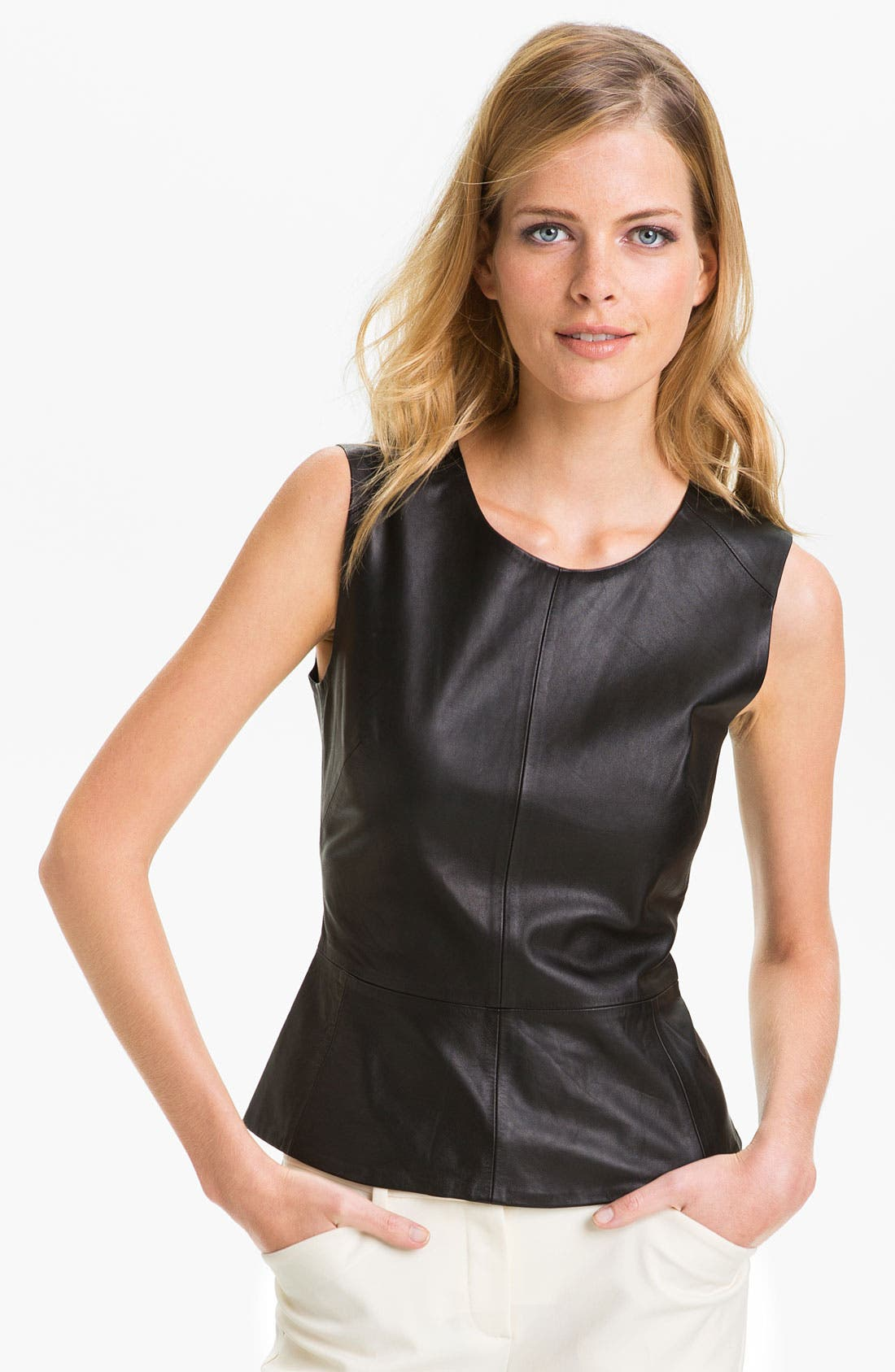 Alternate Image 1 Selected - Trina Turk 'Tatyana' Leather Peplum Top