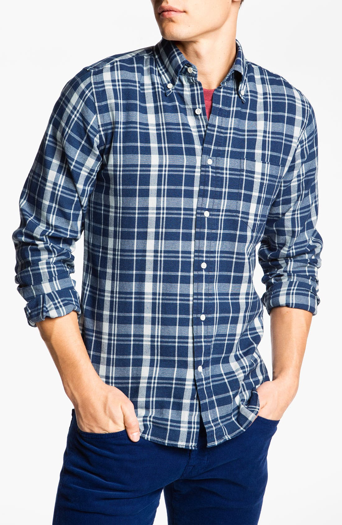 Alternate Image 1 Selected - Gant Rugger 'The Hugger' Check Woven Shirt