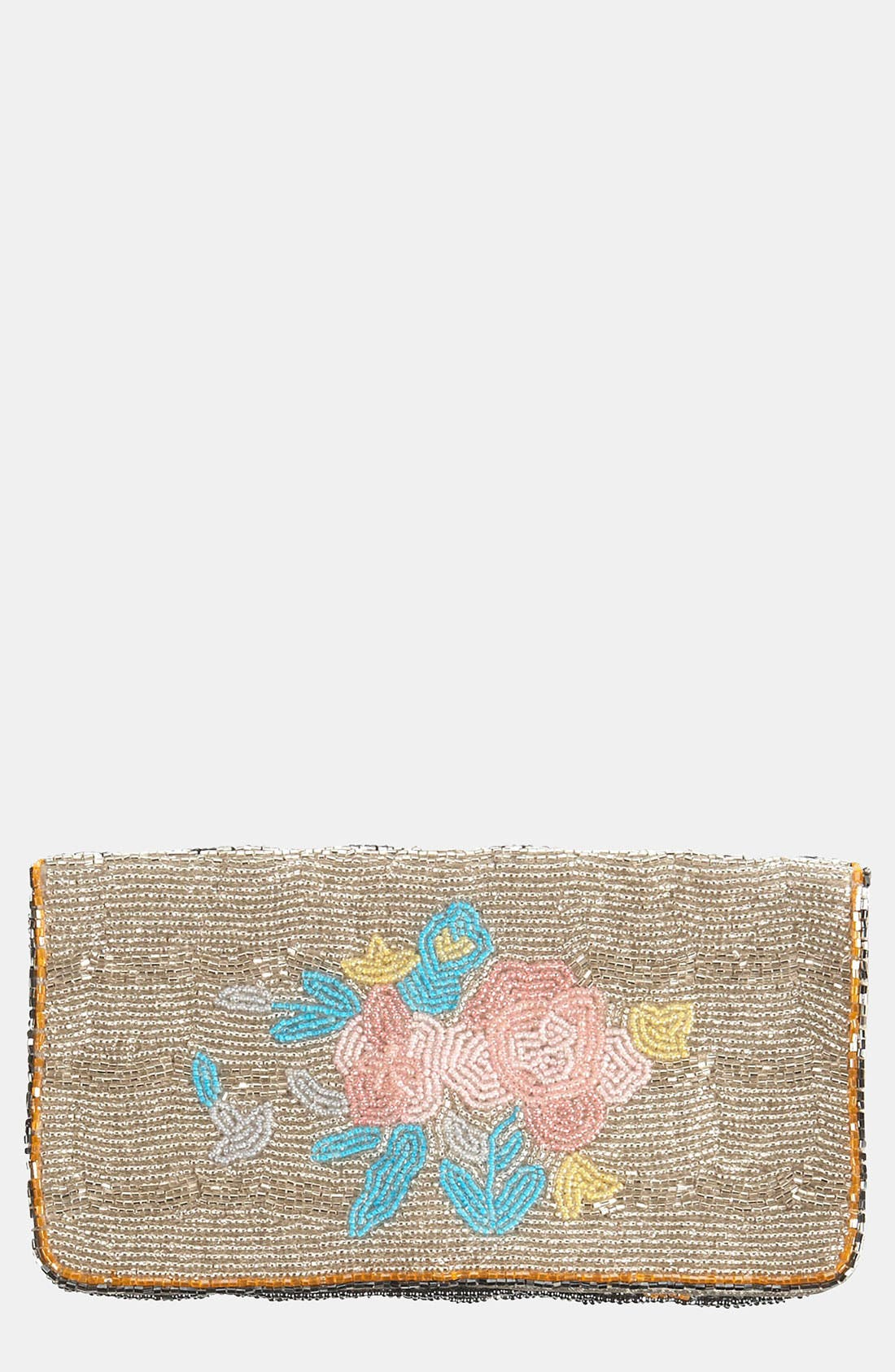 Main Image - Topshop 'Rose' Beaded Clutch