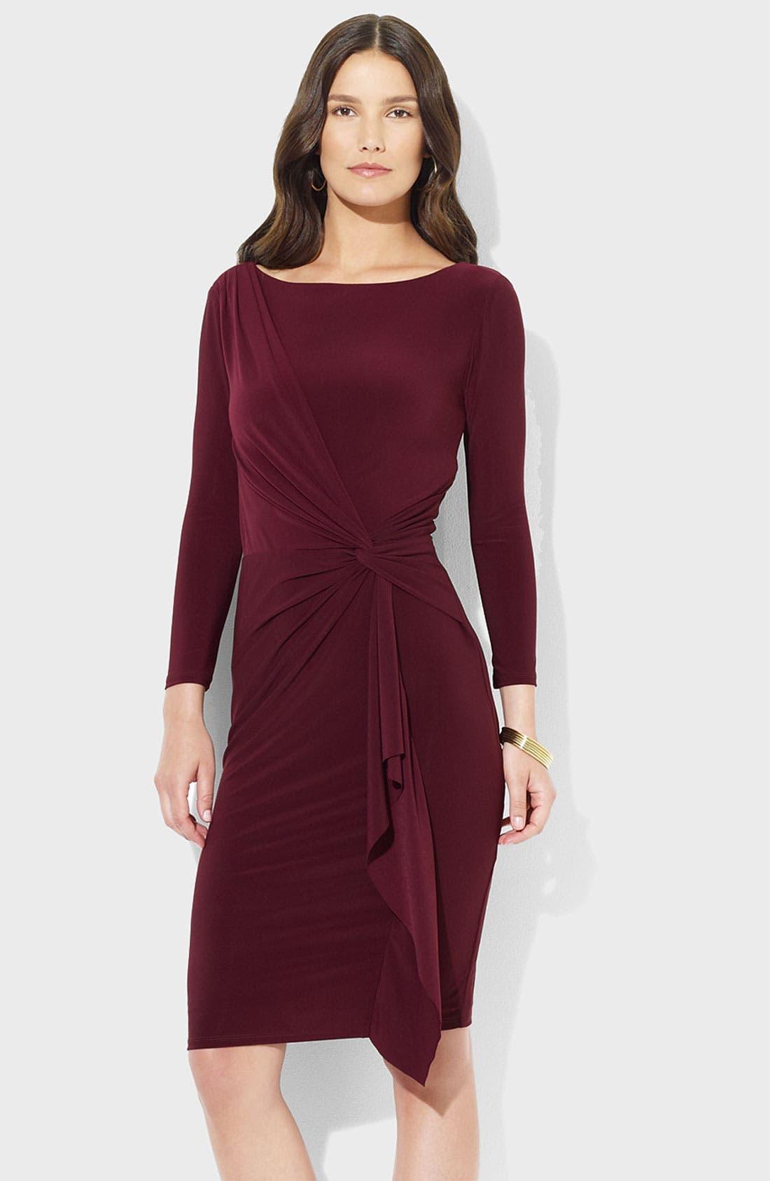 Main Image - Lauren Ralph Lauren Front Knot Jersey Sheath Dress