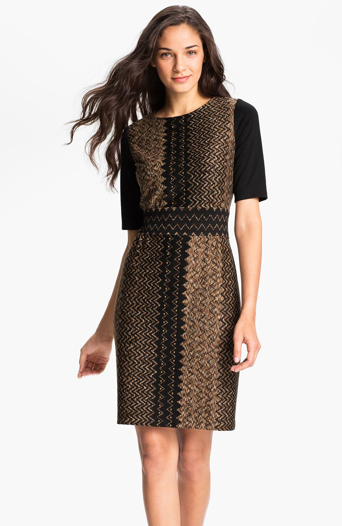 Alternate Image 1 Selected - Donna Ricco Zigzag Print Sheath Dress