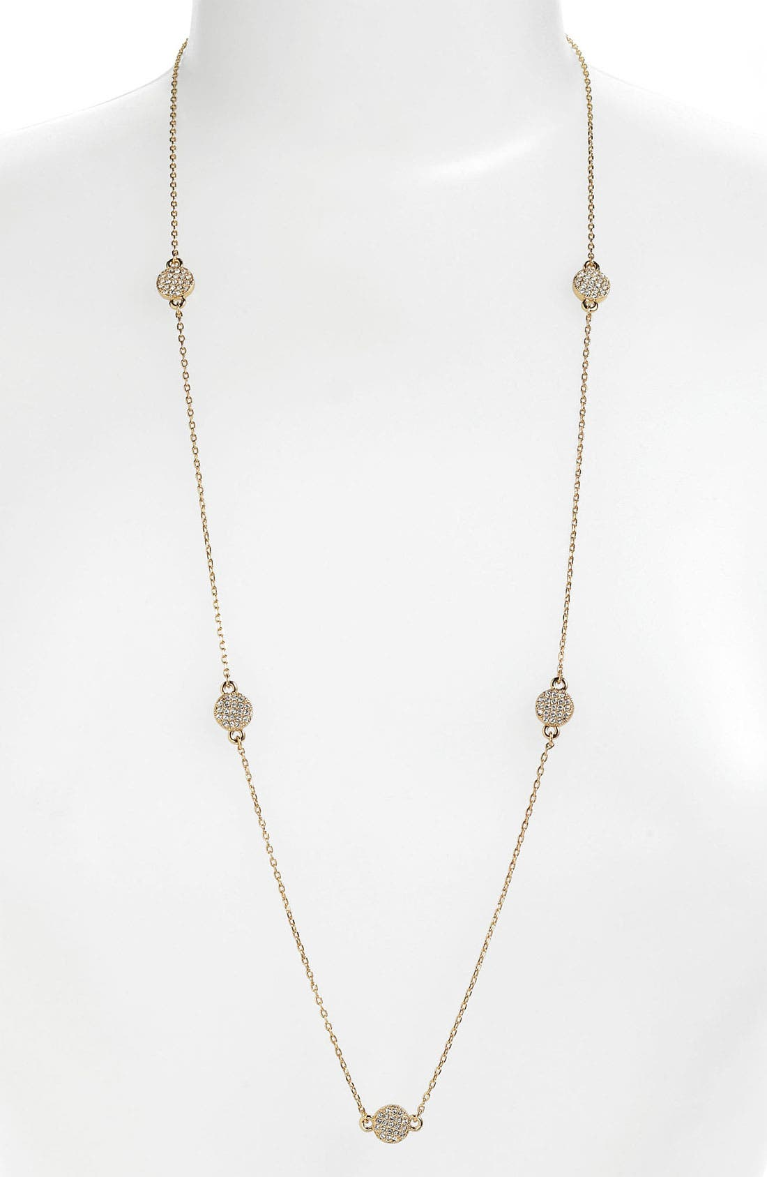 'bright spot' long station necklace,                         Main,                         color, Gold/ Clear Crystal