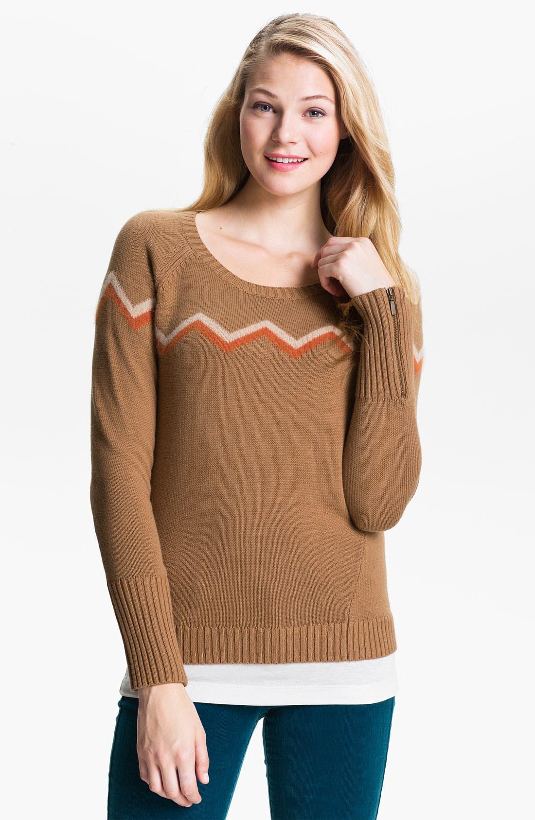 Alternate Image 1 Selected - Caslon® Zigzag Stripe Sweater