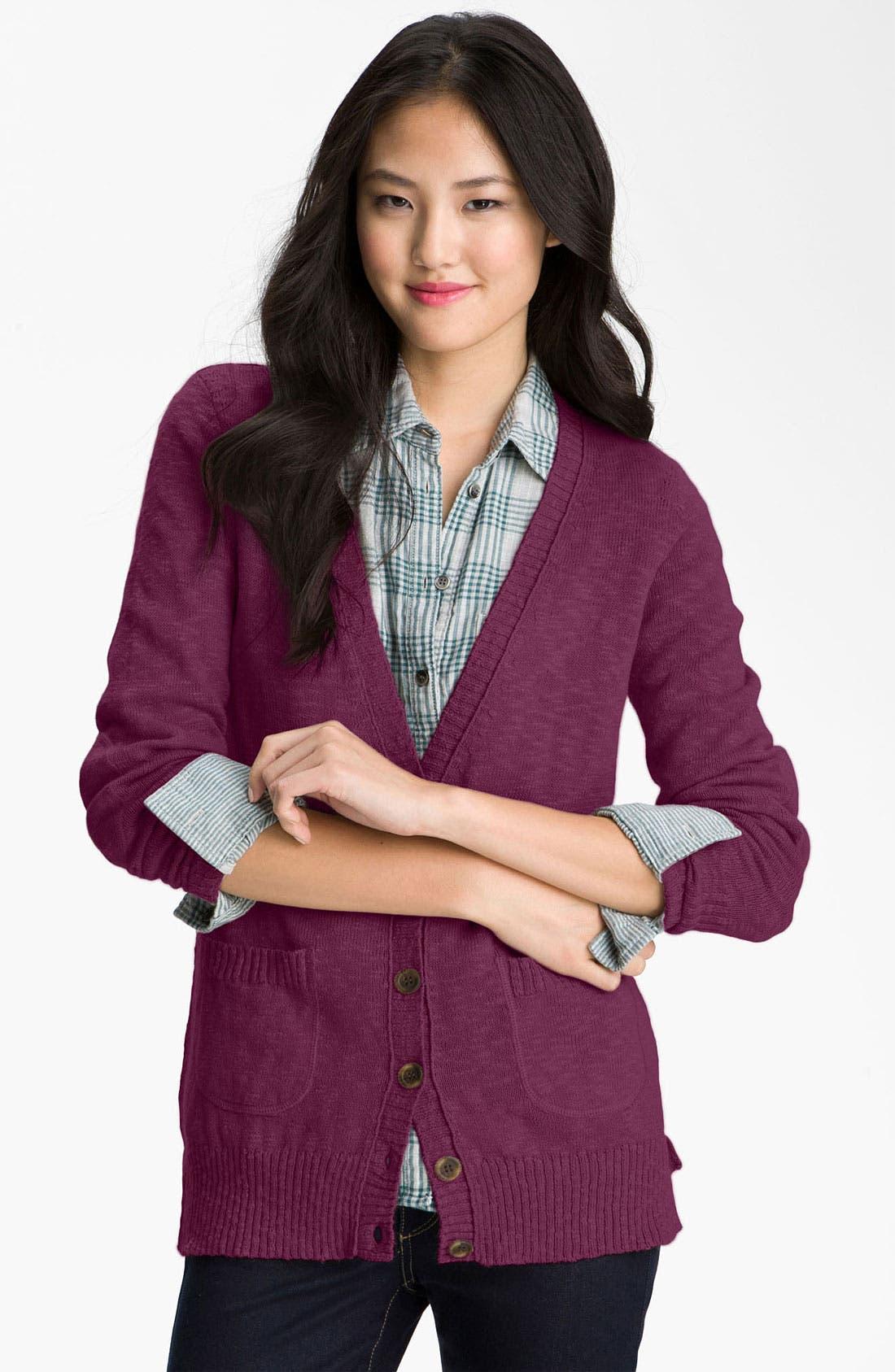 Slub Knit Button Front Cardigan,                             Main thumbnail 1, color,                             Purple Nectar