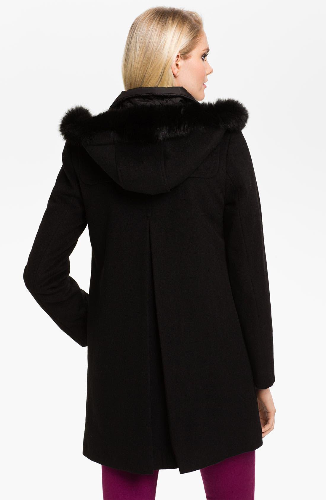Alternate Image 2  - Ellen Tracy Turnkey Coat with Fur Trim Hood (Online Exclusive)