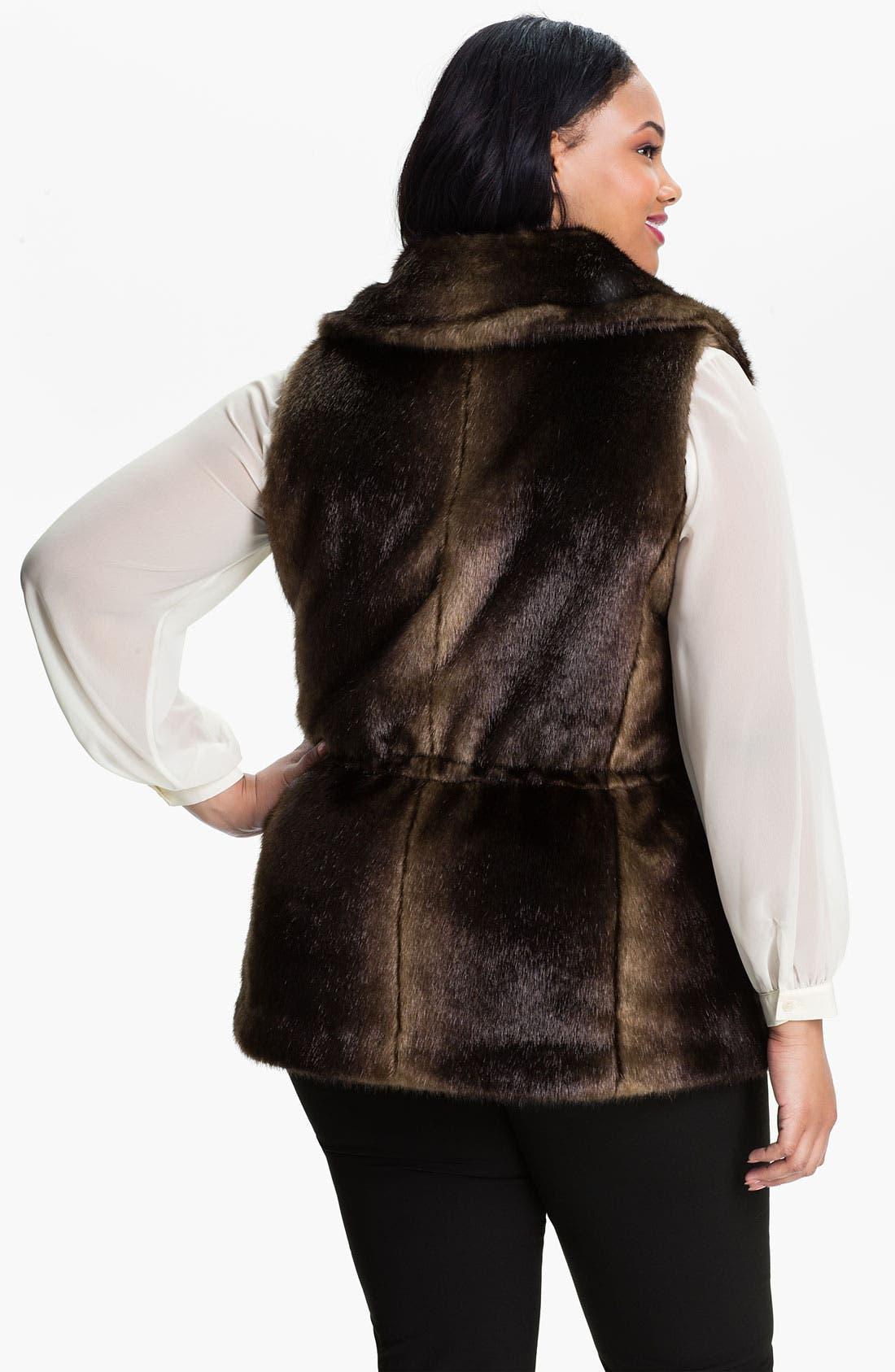 Alternate Image 2  - Ellen Tracy Wing Collar Faux Fur Vest (Plus)