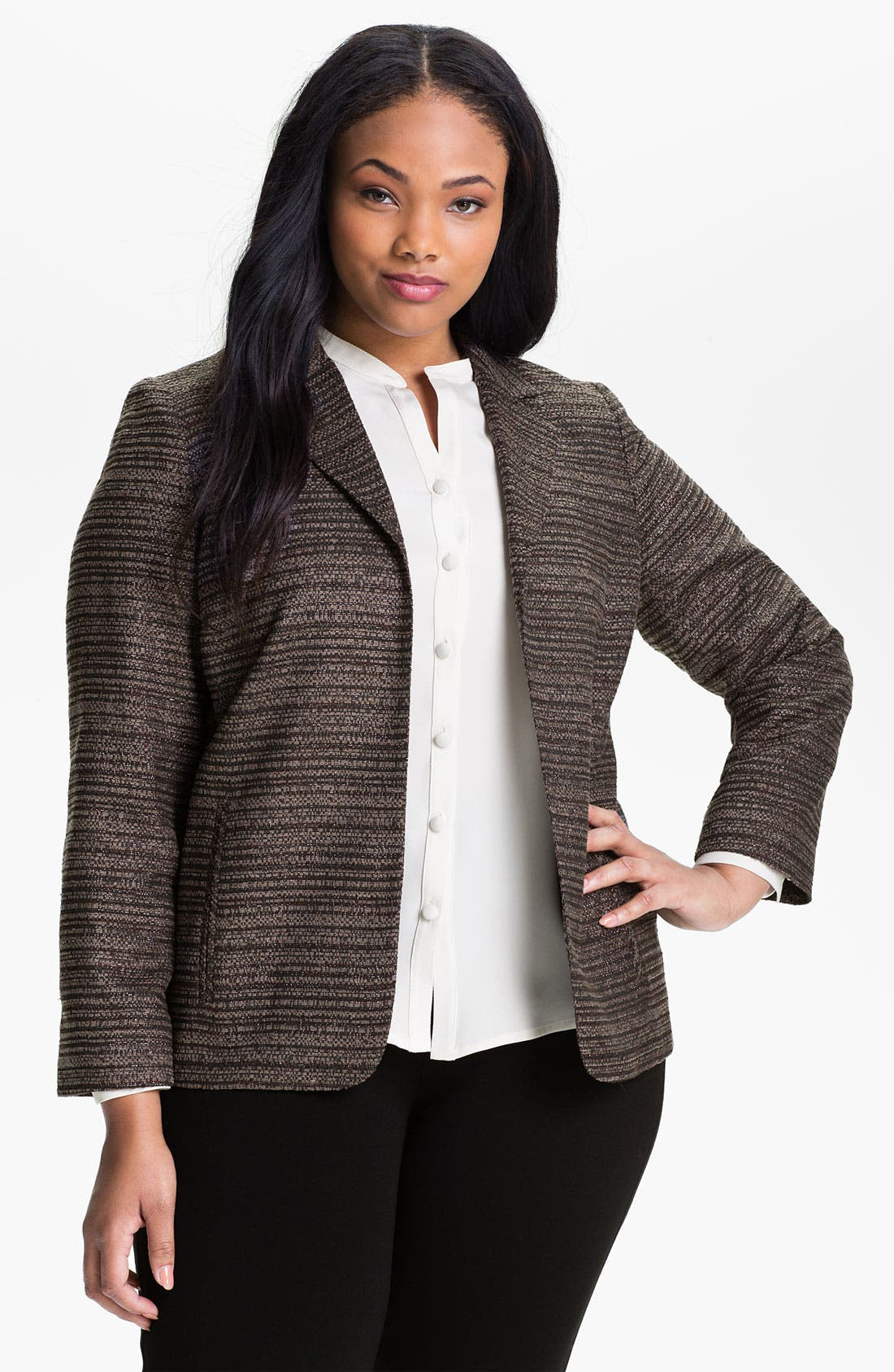 Main Image - Louben Open Front Jacquard Jacket (Plus)