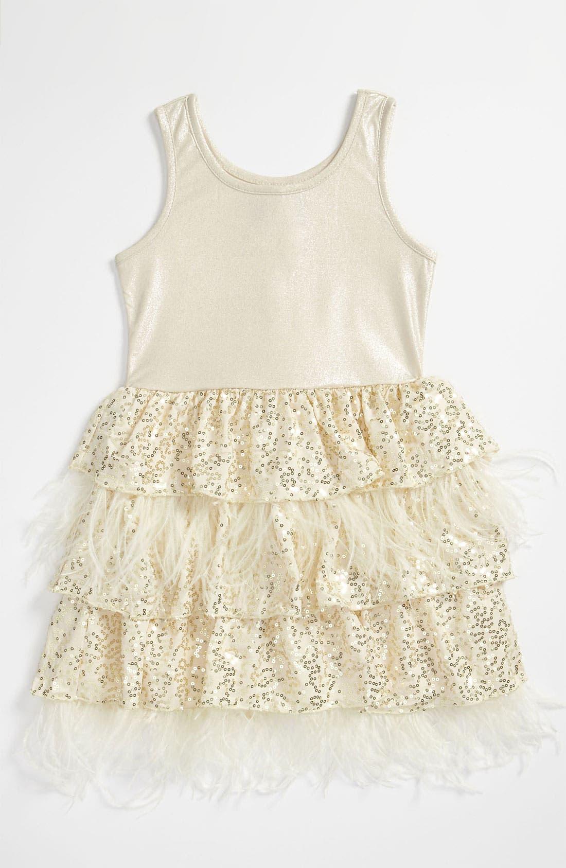 Main Image - Elisa B Sequin Feather Dress (Little Girls)