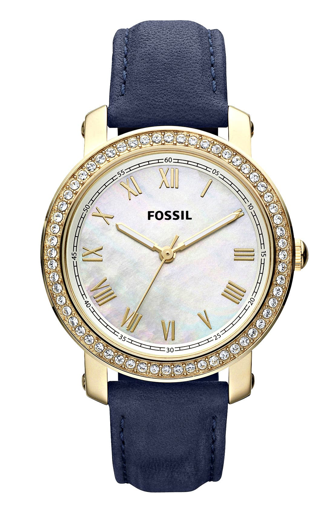 Main Image - Fossil 'Emma' Crystal Bezel Leather Strap Watch, 38mm