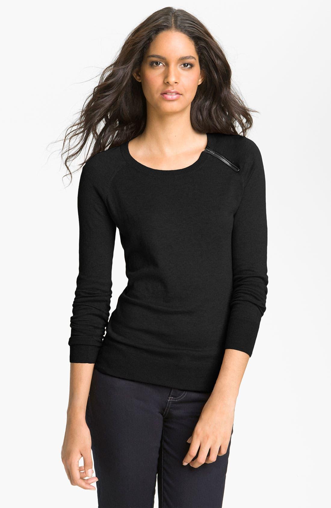 Alternate Image 1 Selected - Halogen® Zip Shoulder Sweater