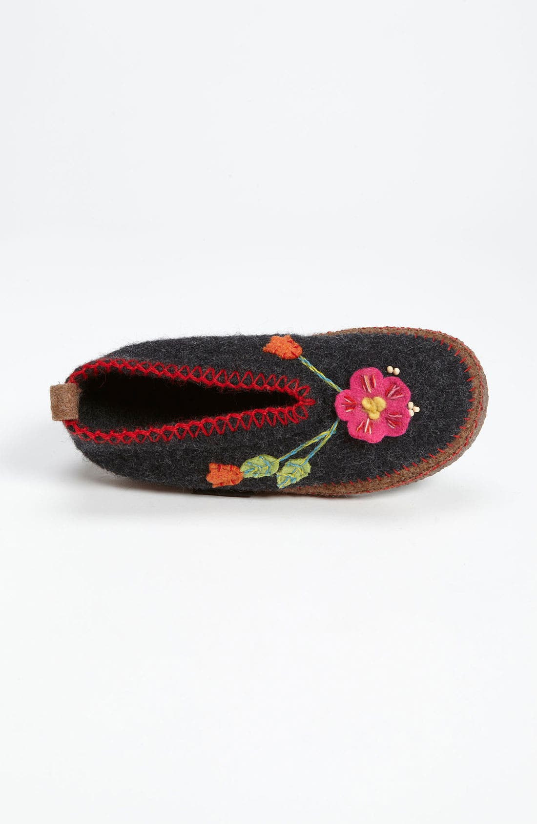 'Spital Flower' Slipper,                             Alternate thumbnail 3, color,                             Charcoal Wool