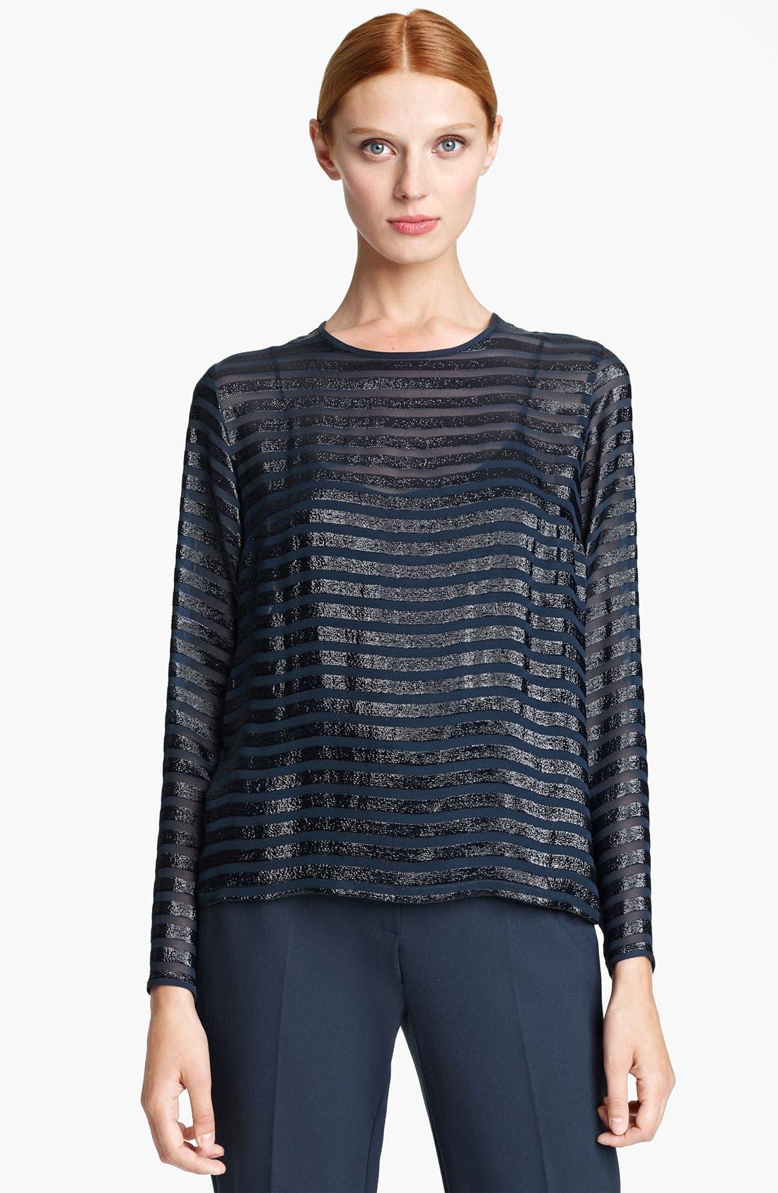 Main Image - Max Mara 'Farisco' Stripe Metallic Silk Blouse