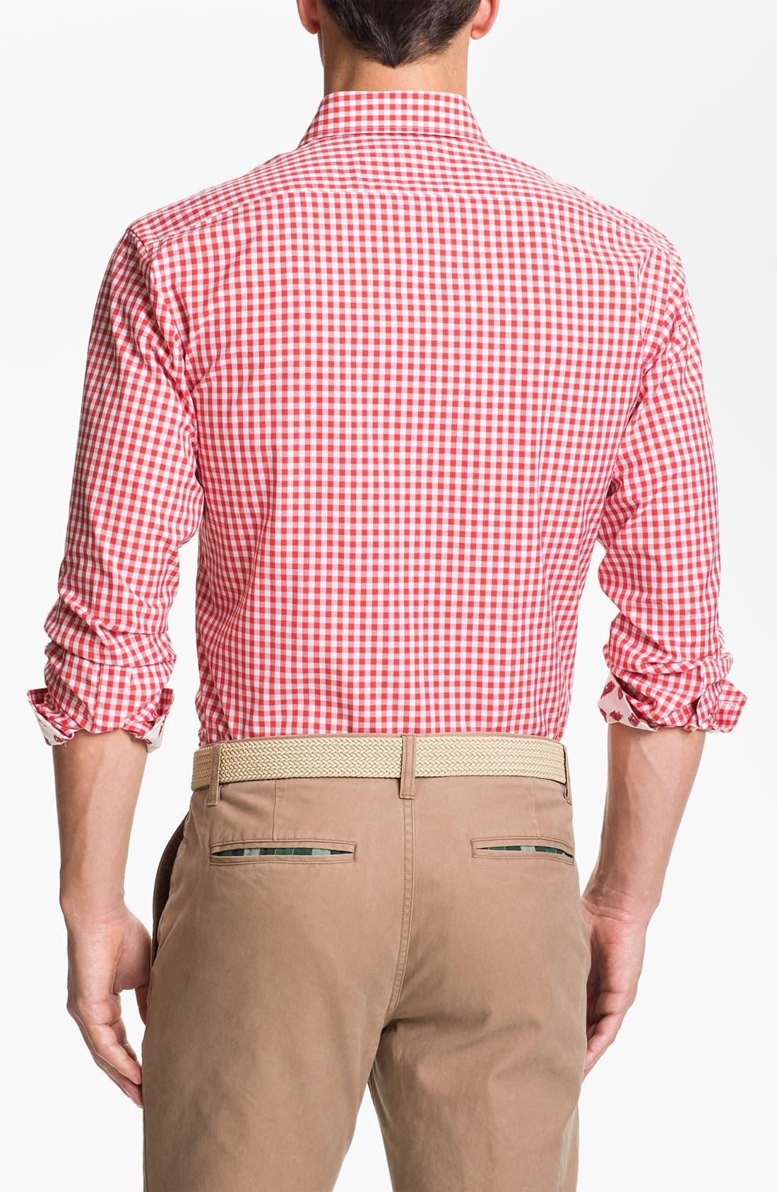 Alternate Image 2  - Thomas Dean 'University of Mississippi' Gingham Sport Shirt