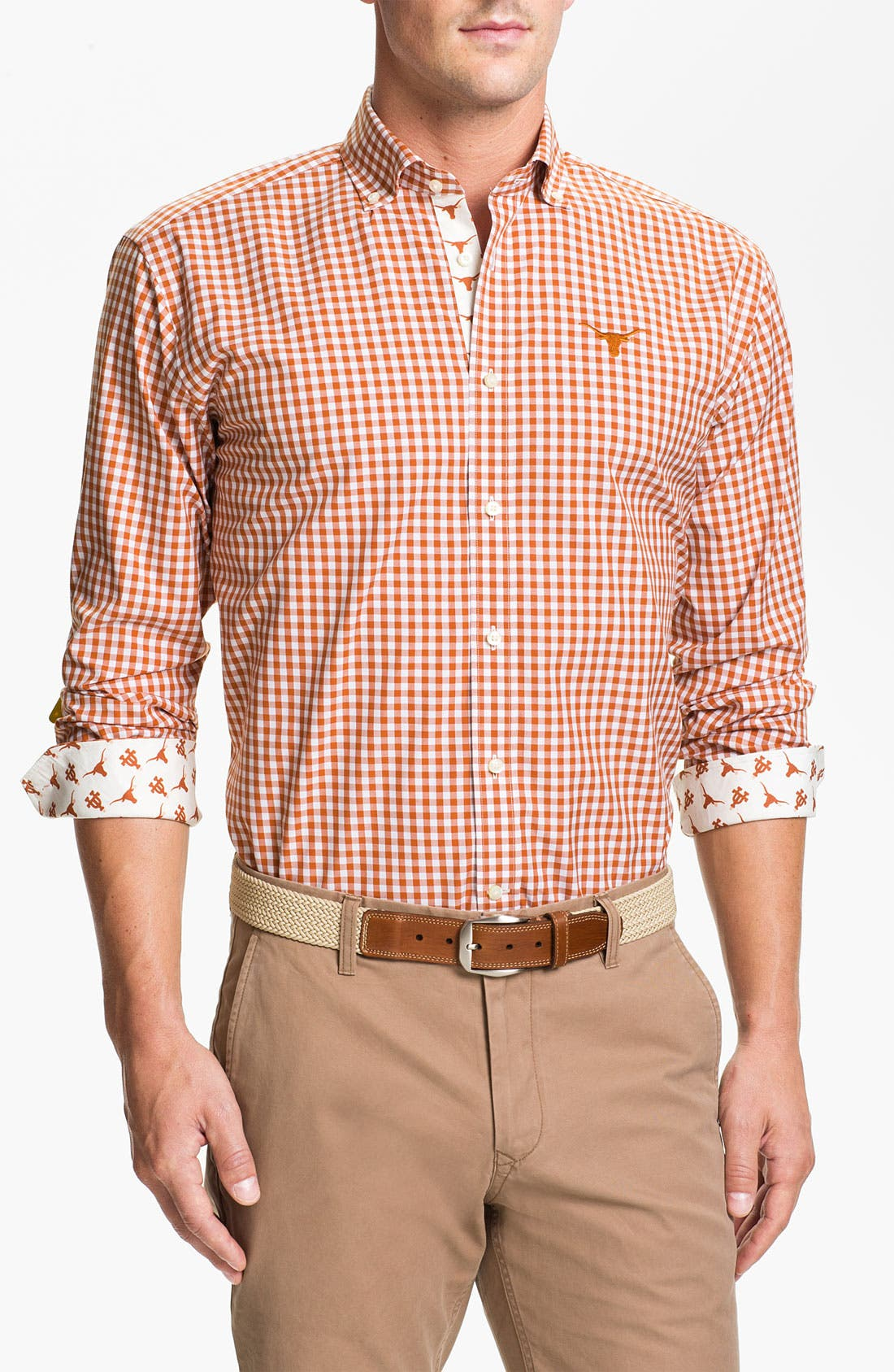 Alternate Image 1 Selected - Thomas Dean 'University of Texas' Gingham Sport Shirt