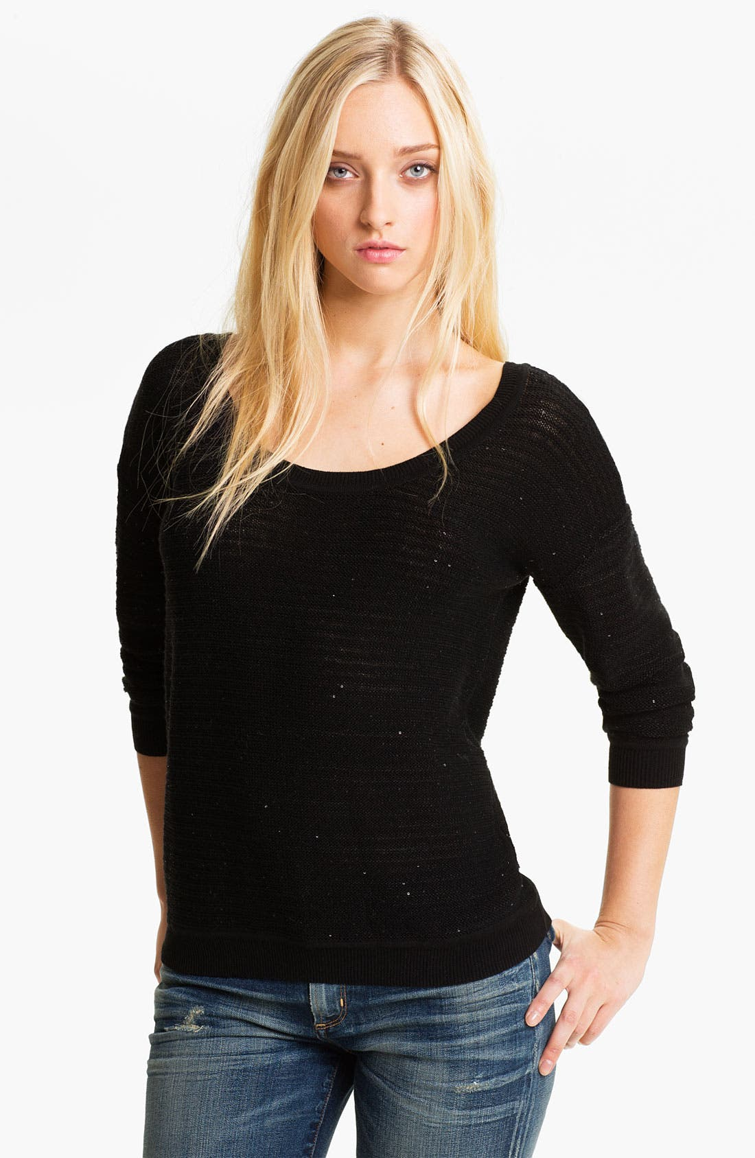 Sequin Stripe Sweater,                             Main thumbnail 1, color,                             Black