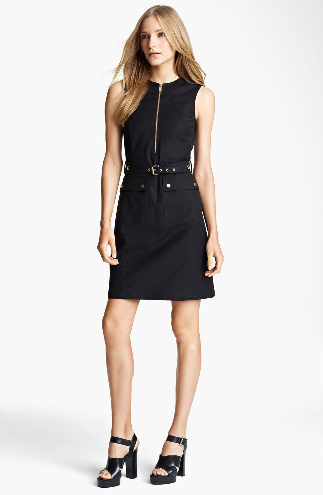 Main Image - Michael Kors Belted Broadcloth Dress