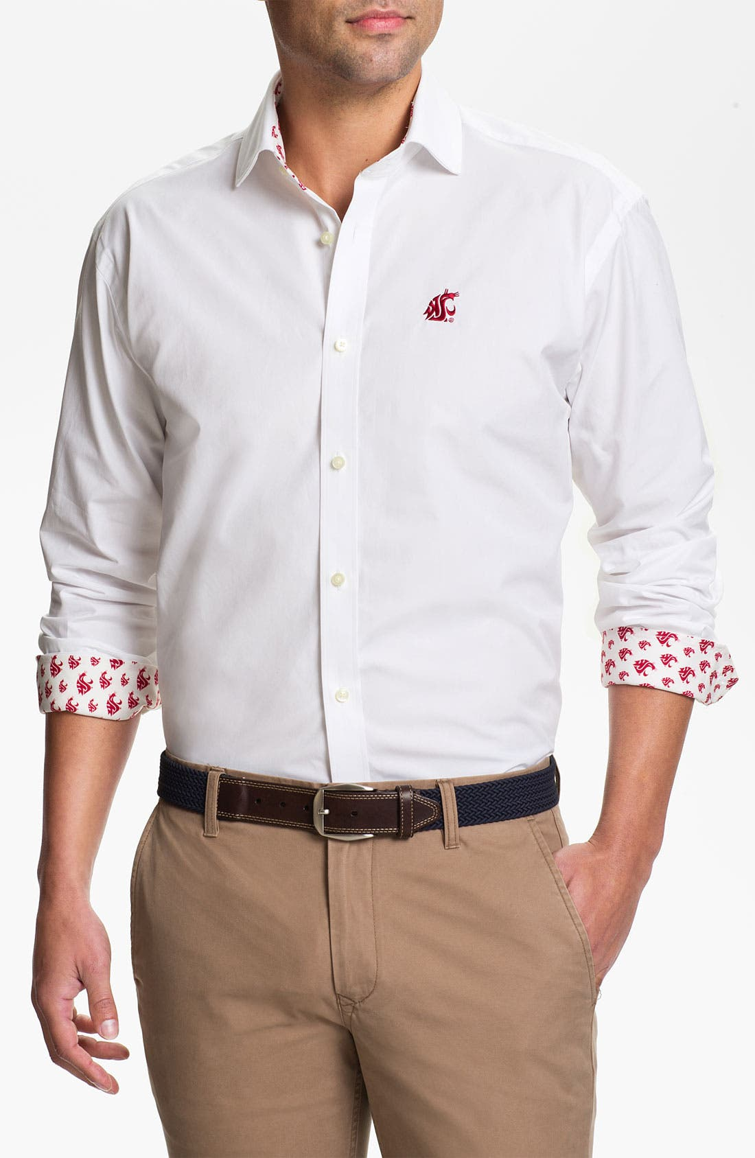 Main Image - Thomas Dean 'Washington State University' Traditional Fit Sport Shirt