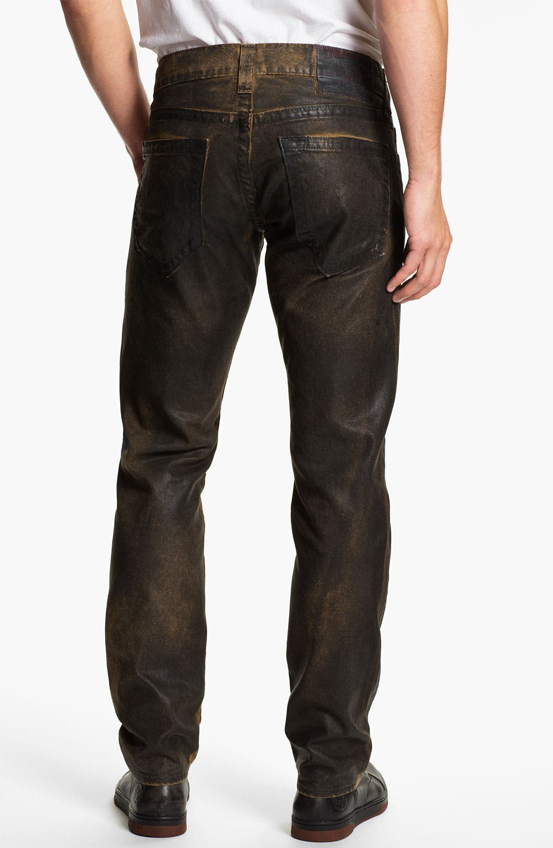 Main Image - True Religion Brand Jeans 'Geno' Tapered Straight Leg Jeans (Crackle Coated Black Vintage)