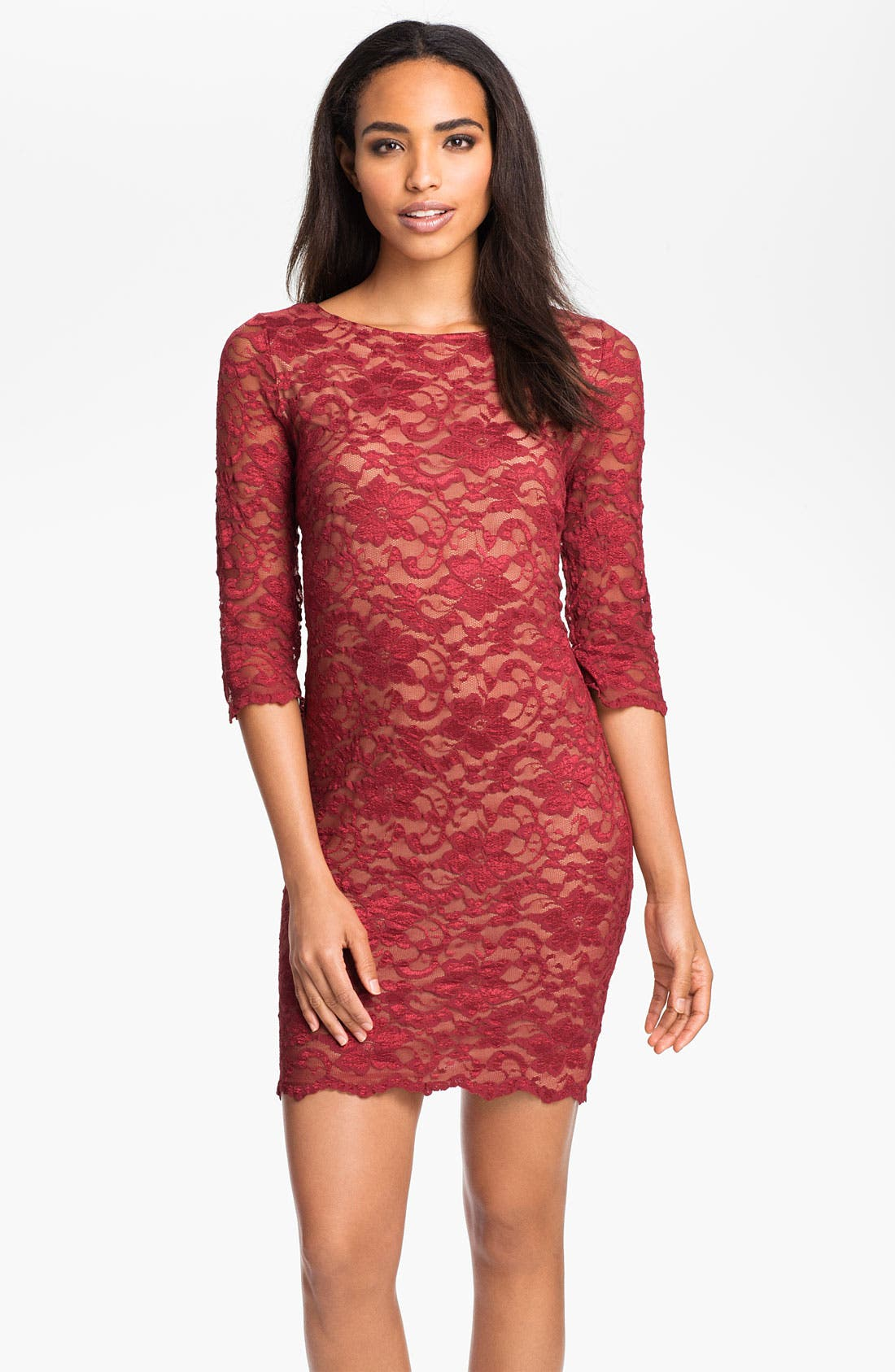 Lace Overlay Dress,                         Main,                         color, Red