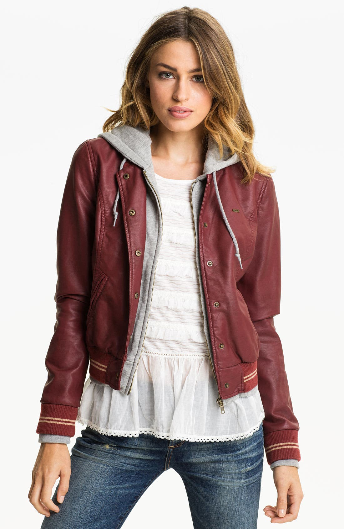 Alternate Image 1 Selected - Obey Layered Look Faux Leather Varsity Jacket