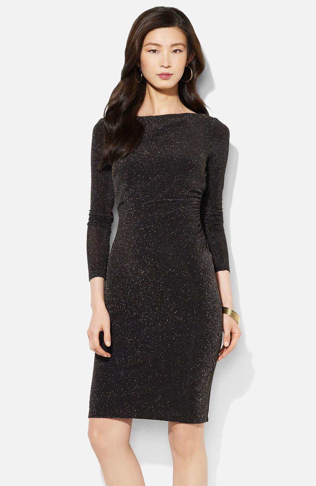 Main Image - Lauren Ralph Lauren Boatneck Metallic Sheath Dress