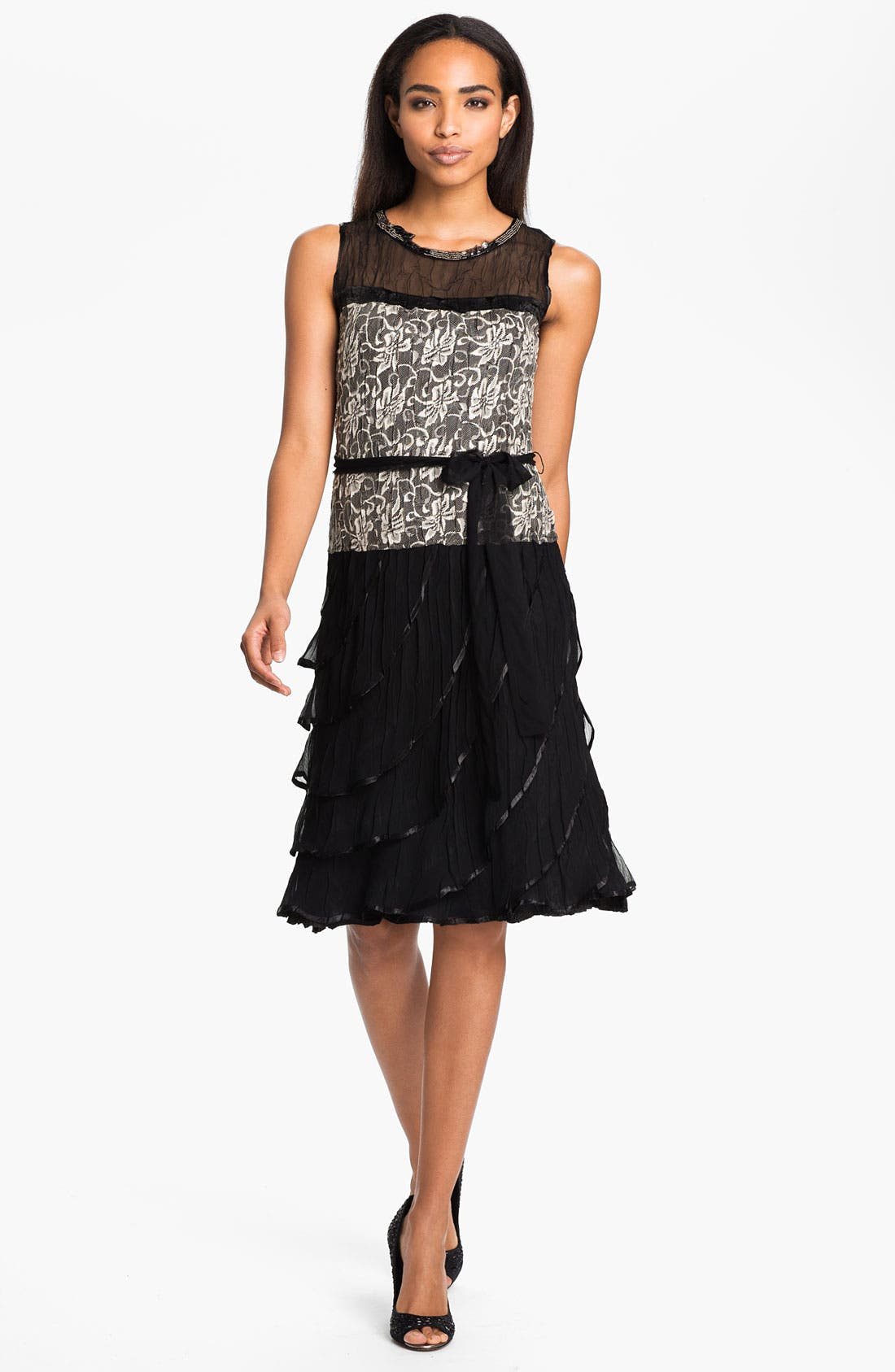 Alternate Image 1 Selected - Black by Komarov Lace & Chiffon Dress