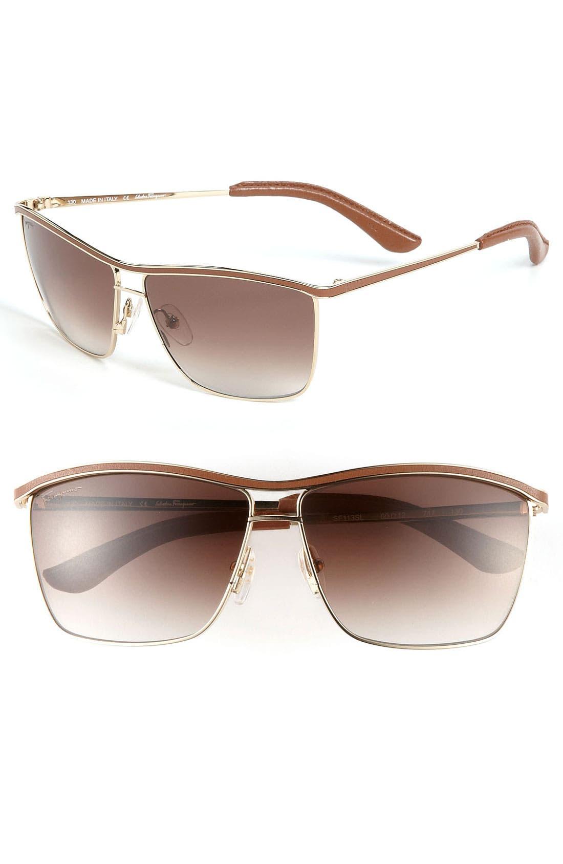 Main Image - Salvatore Ferragamo Navigator Sunglasses