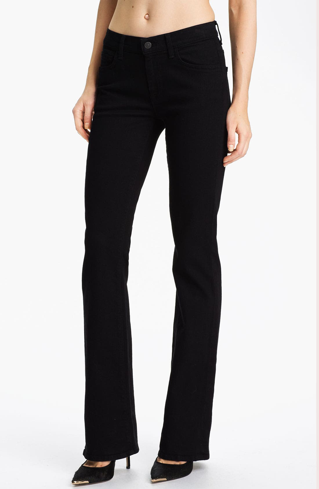 Alternate Image 1 Selected - 7 For All Mankind® Bootcut Stretch Jeans (Black)