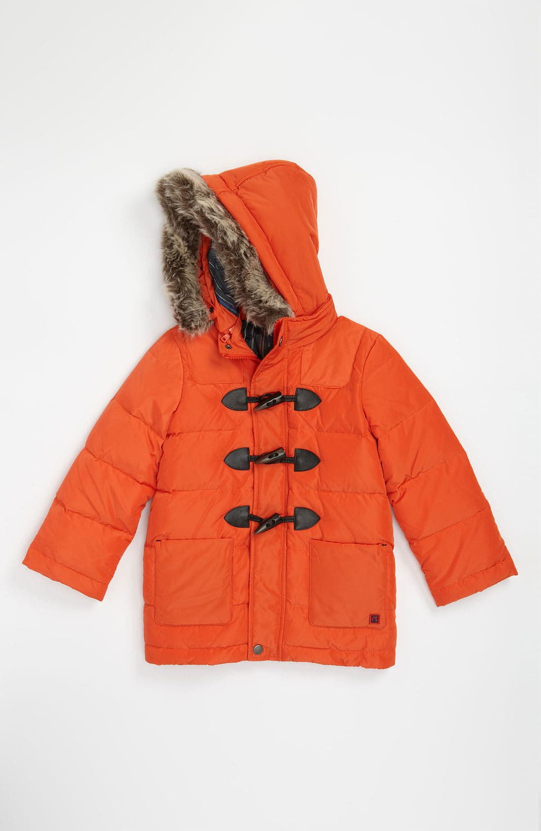 Main Image - Paul Smith Junior 'Cleon' Hooded Puff Jacket with Faux Fur Trim (Little Boys & Big Boys)