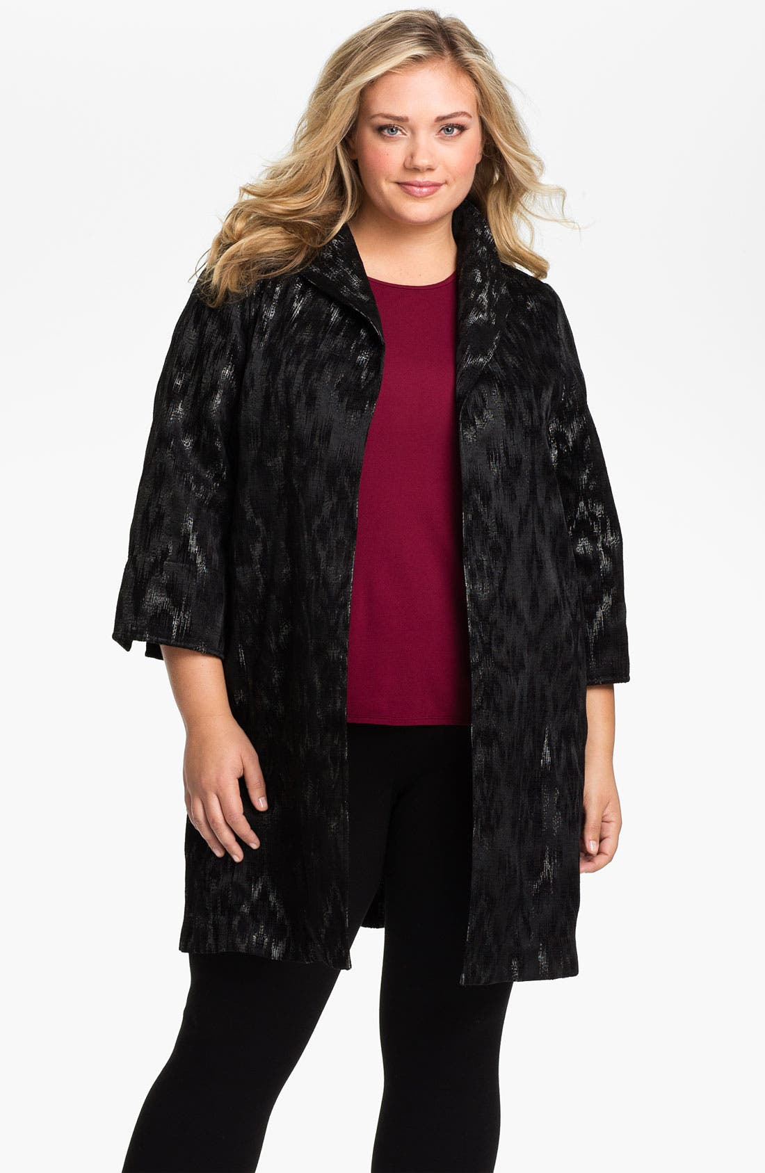Alternate Image 1 Selected - Eileen Fisher Open Front Three Quarter Sleeve Coat (Plus)