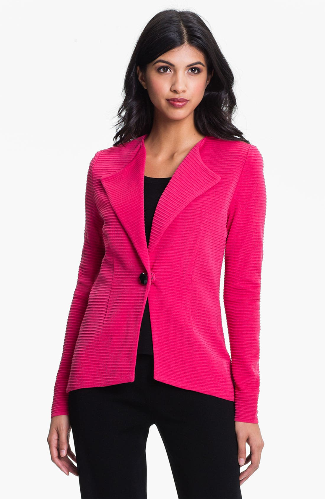 Alternate Image 1 Selected - Exclusively Misook Ribbed Blazer