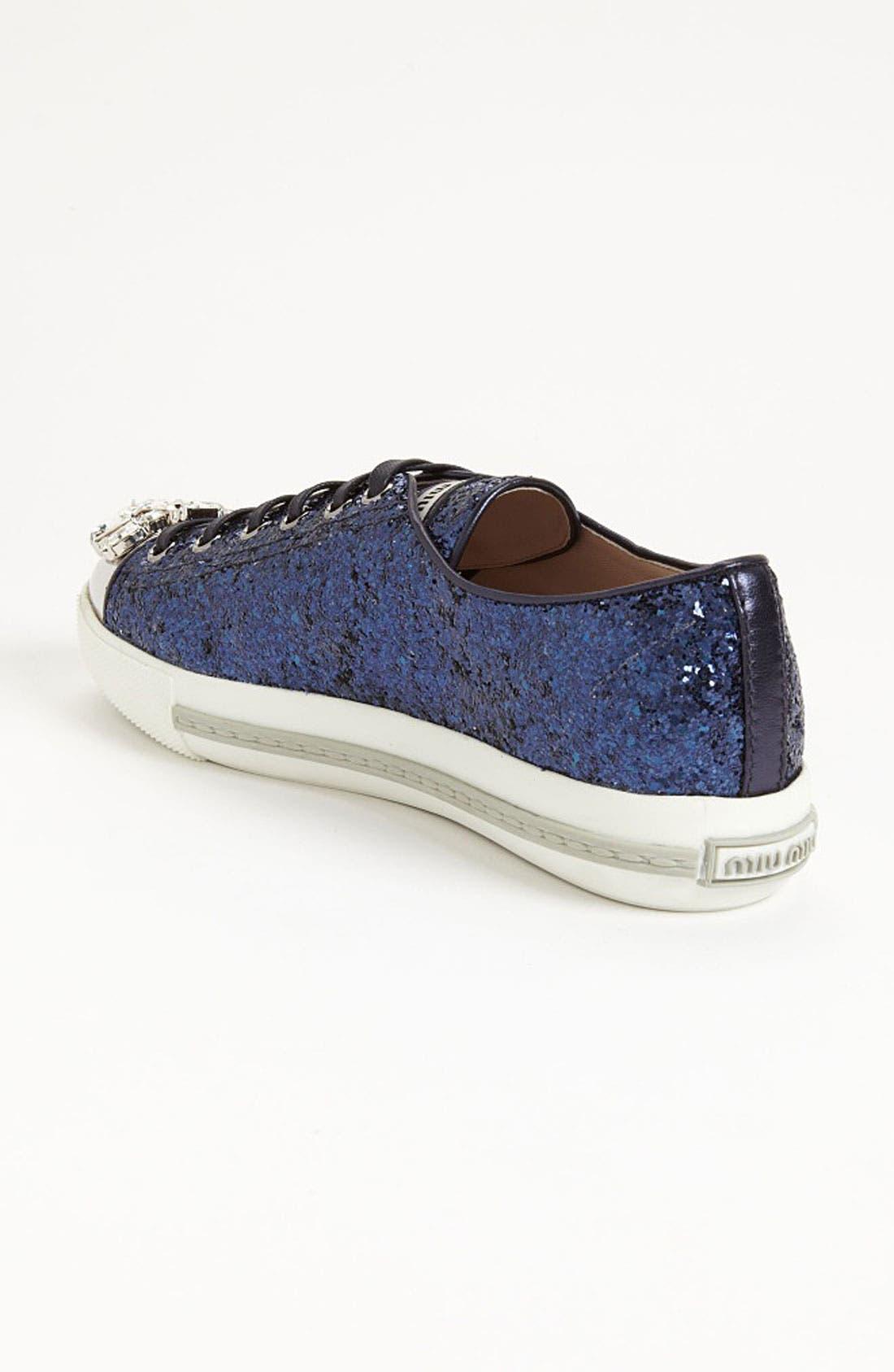 Alternate Image 2  - Miu Miu Glitter Crystal Toe Sneaker