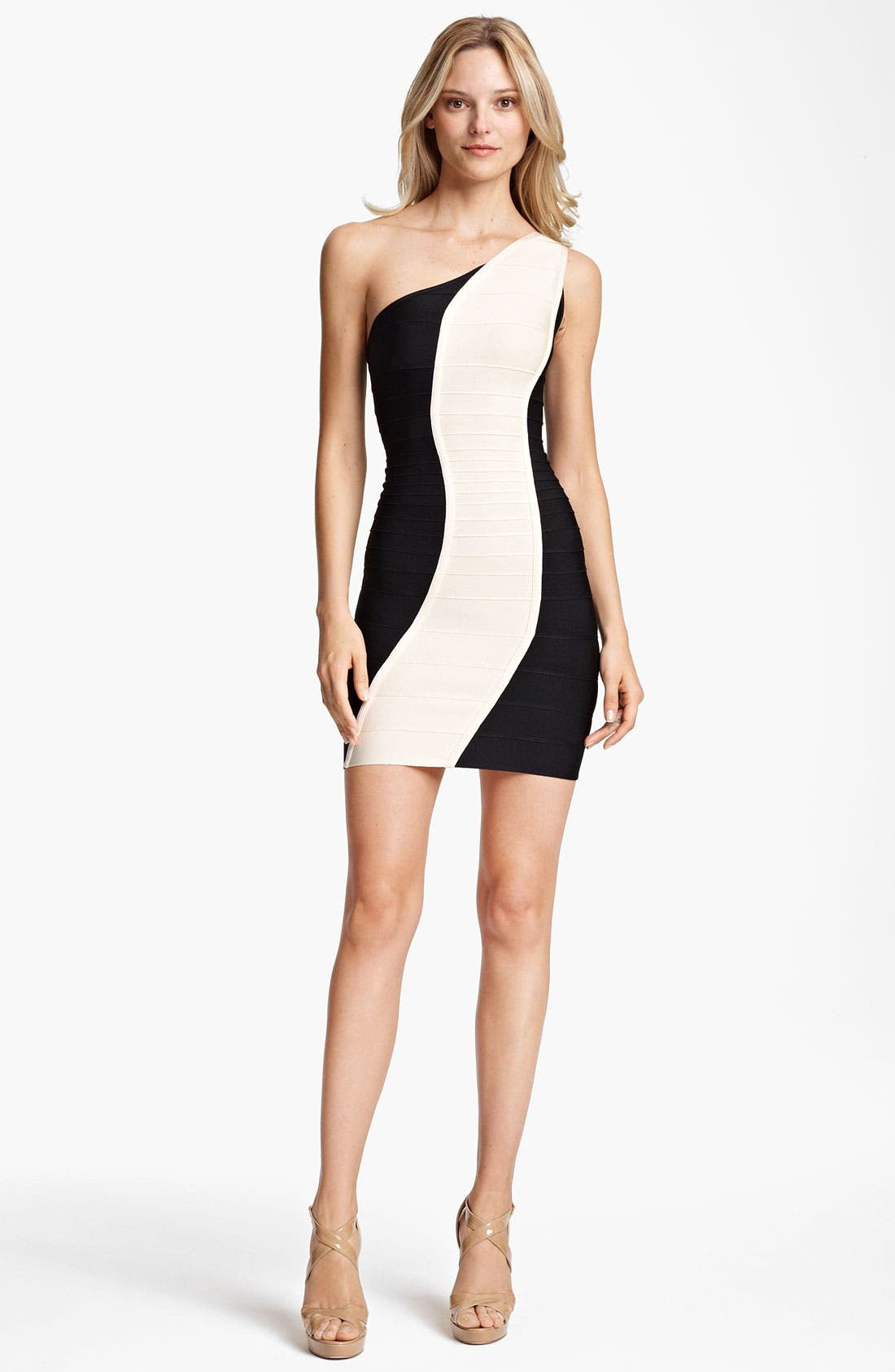 Main Image - Herve Leger Colorblock One Shoulder Dress