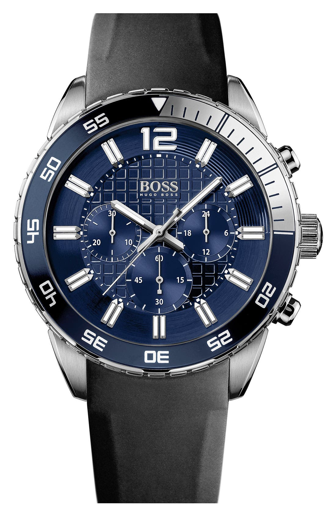 Alternate Image 1 Selected - BOSS HUGO BOSS 'Iconic' Blue Chronograph Dial Sport Watch, 44mm