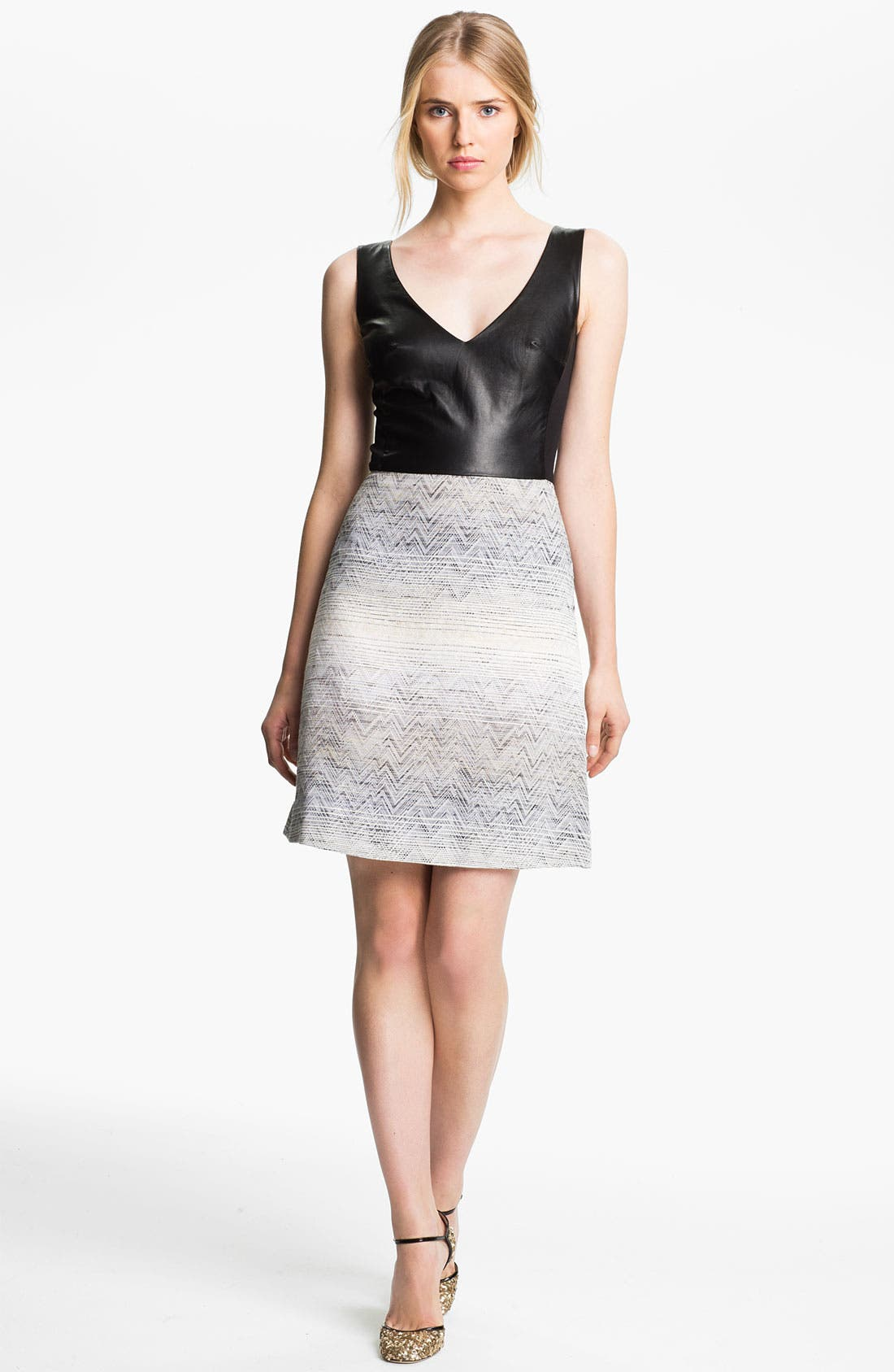 Alternate Image 1 Selected - L'AGENCE Leather & Jacquard Dress