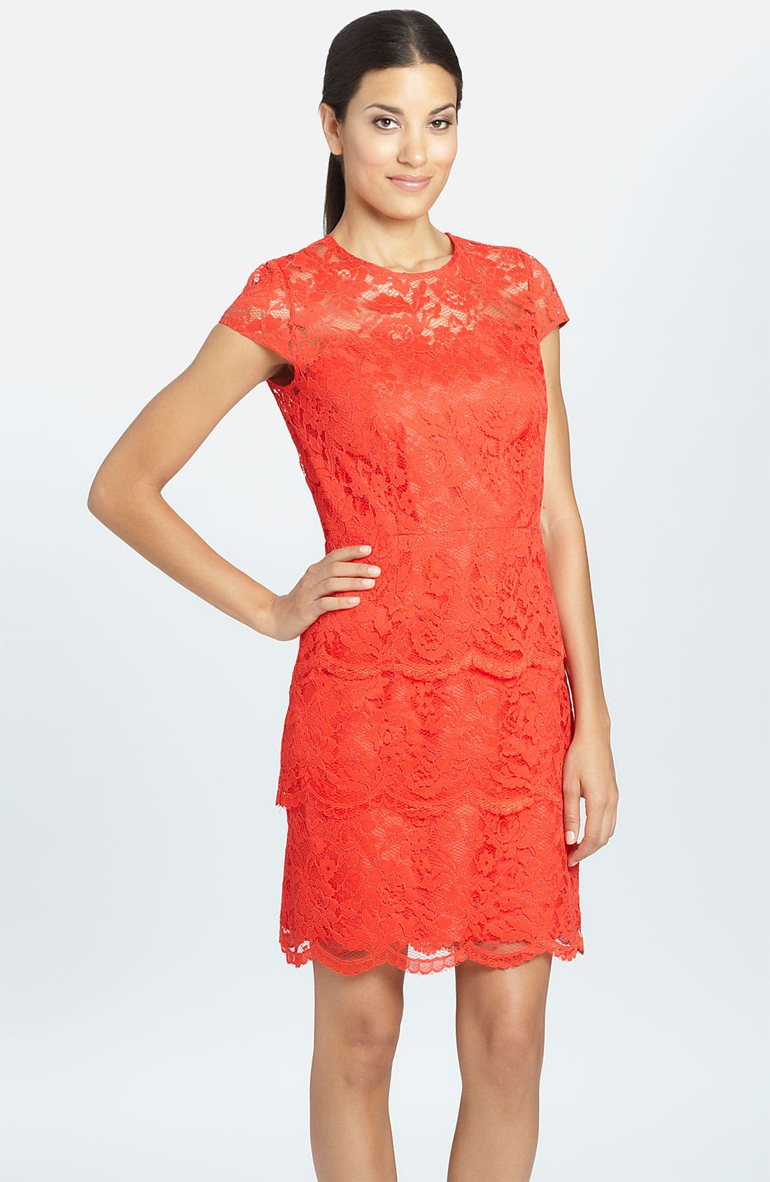 Alternate Image 1 Selected - Cynthia Steffe 'Martine' Illusion Yoke Tiered Lace Dress