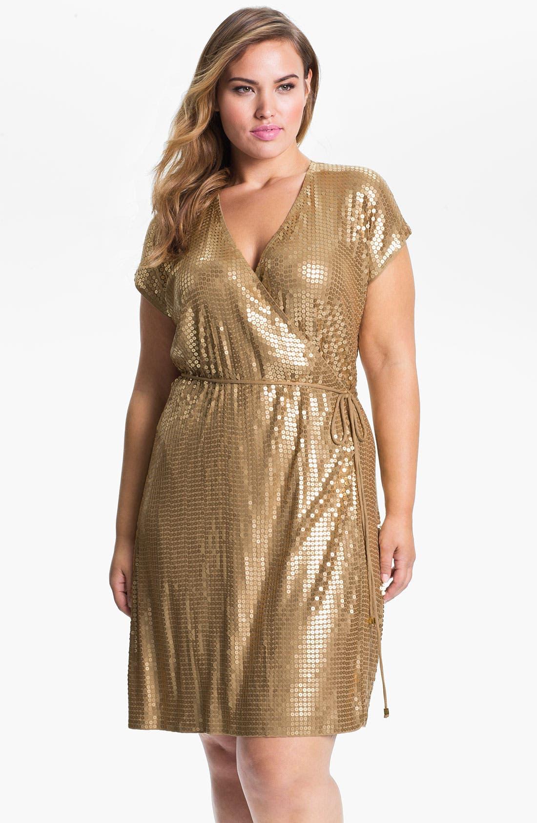 Alternate Image 1 Selected - MICHAEL Michael Kors Sequin Wrap Dress (Plus)