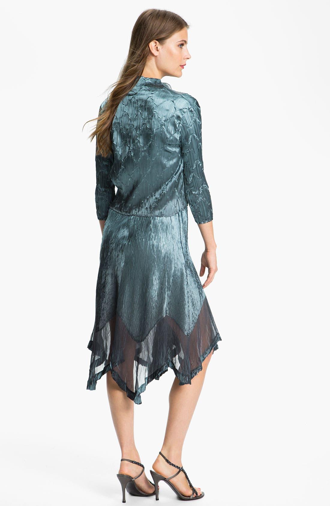 Alternate Image 2  - Komarov Beaded Pleated Charmeuse Dress & Jacket (Regular & Petite)