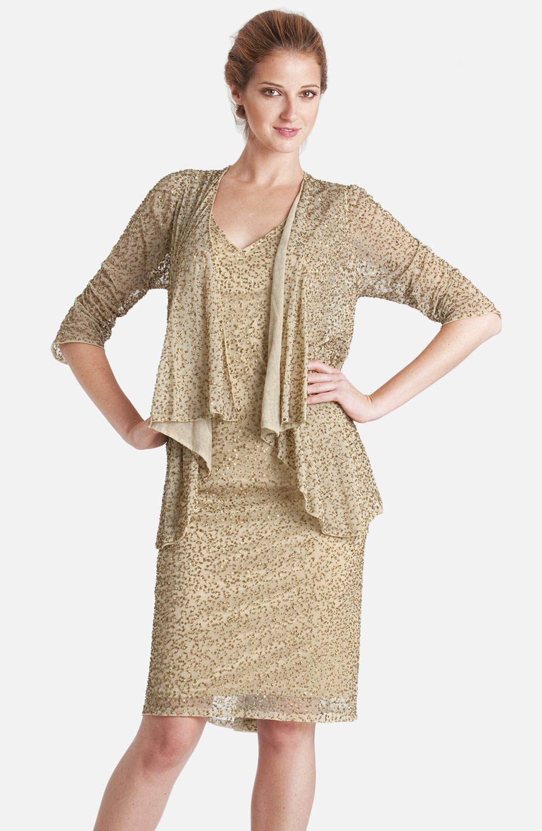 Main Image - JS Collections Embellished V-Neck Chiffon Dress & Jacket