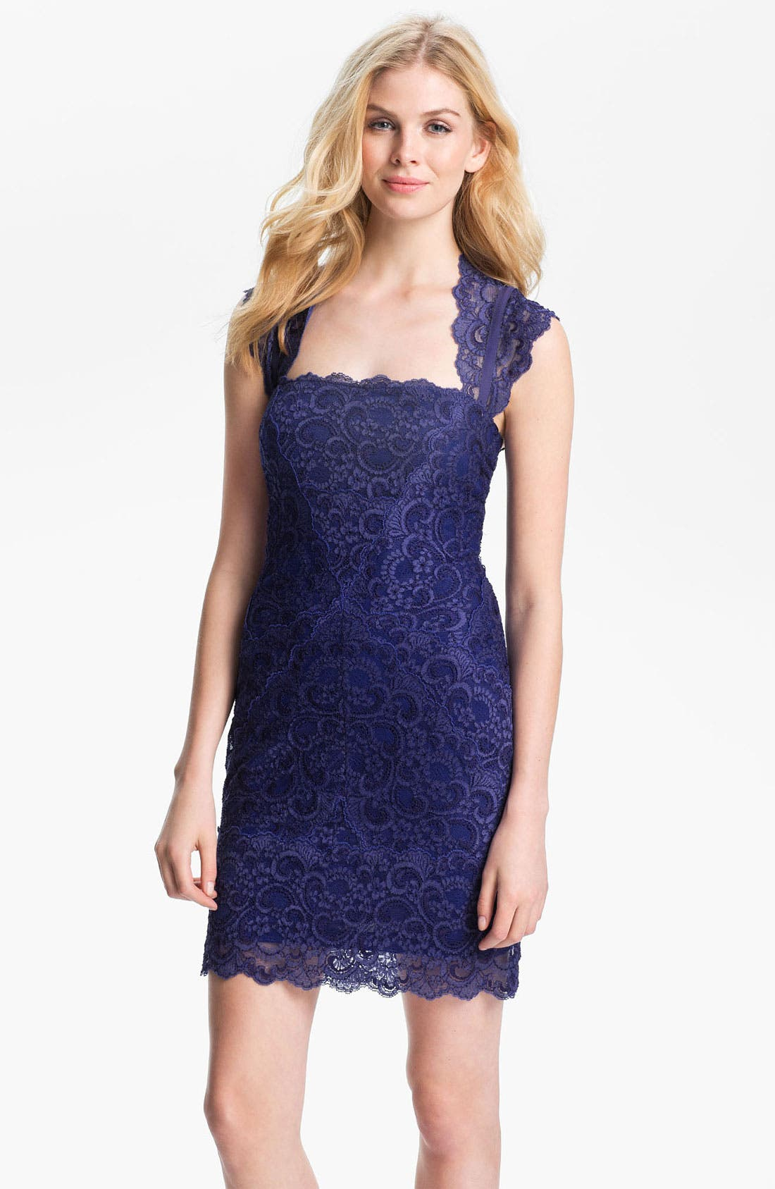 Alternate Image 1 Selected - Nicole Miller Lace Fitted Cap Sleeve Lace Sheath Dress
