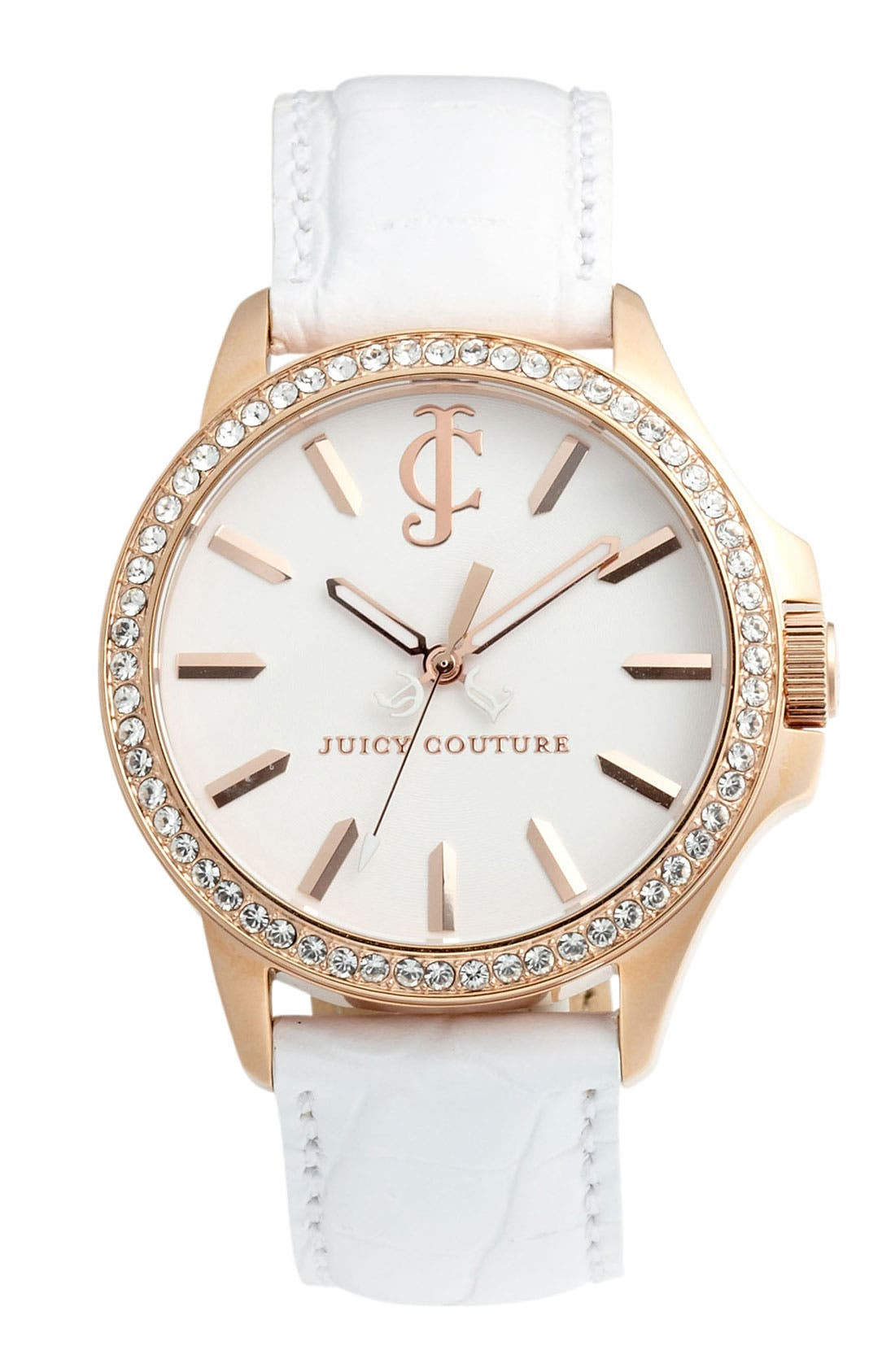 Alternate Image 1 Selected - Juicy Couture 'Jet Setter' Round Leather Strap Watch, 38mm