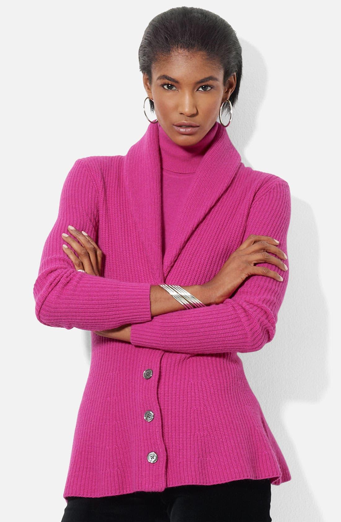 Main Image - Lauren Ralph Lauren Shawl Collar Peplum Cardigan (Petite) (Online Exclusive)