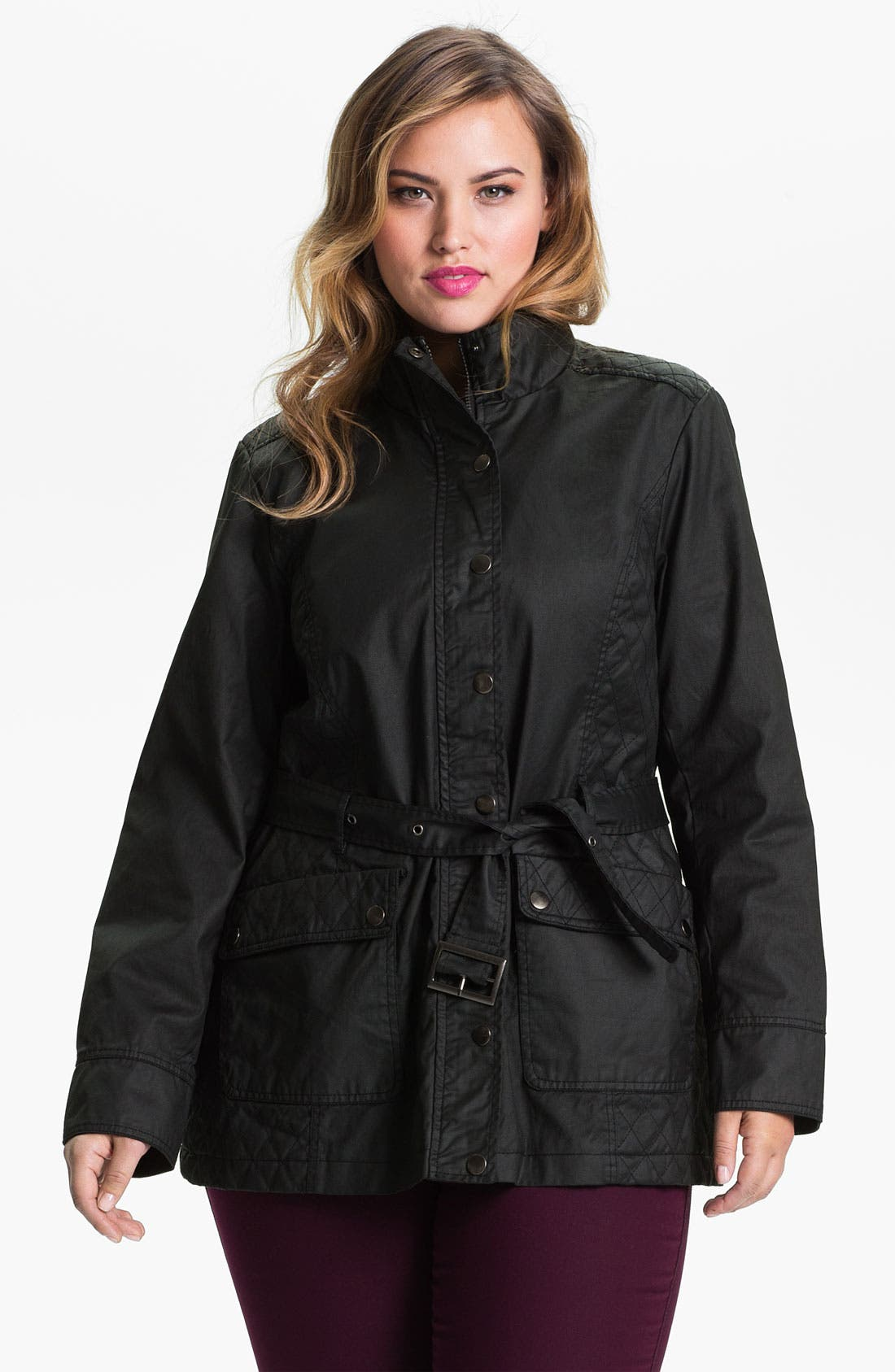 Alternate Image 1 Selected - Evans Waxed Cotton Funnel Neck Jacket (Plus Size)