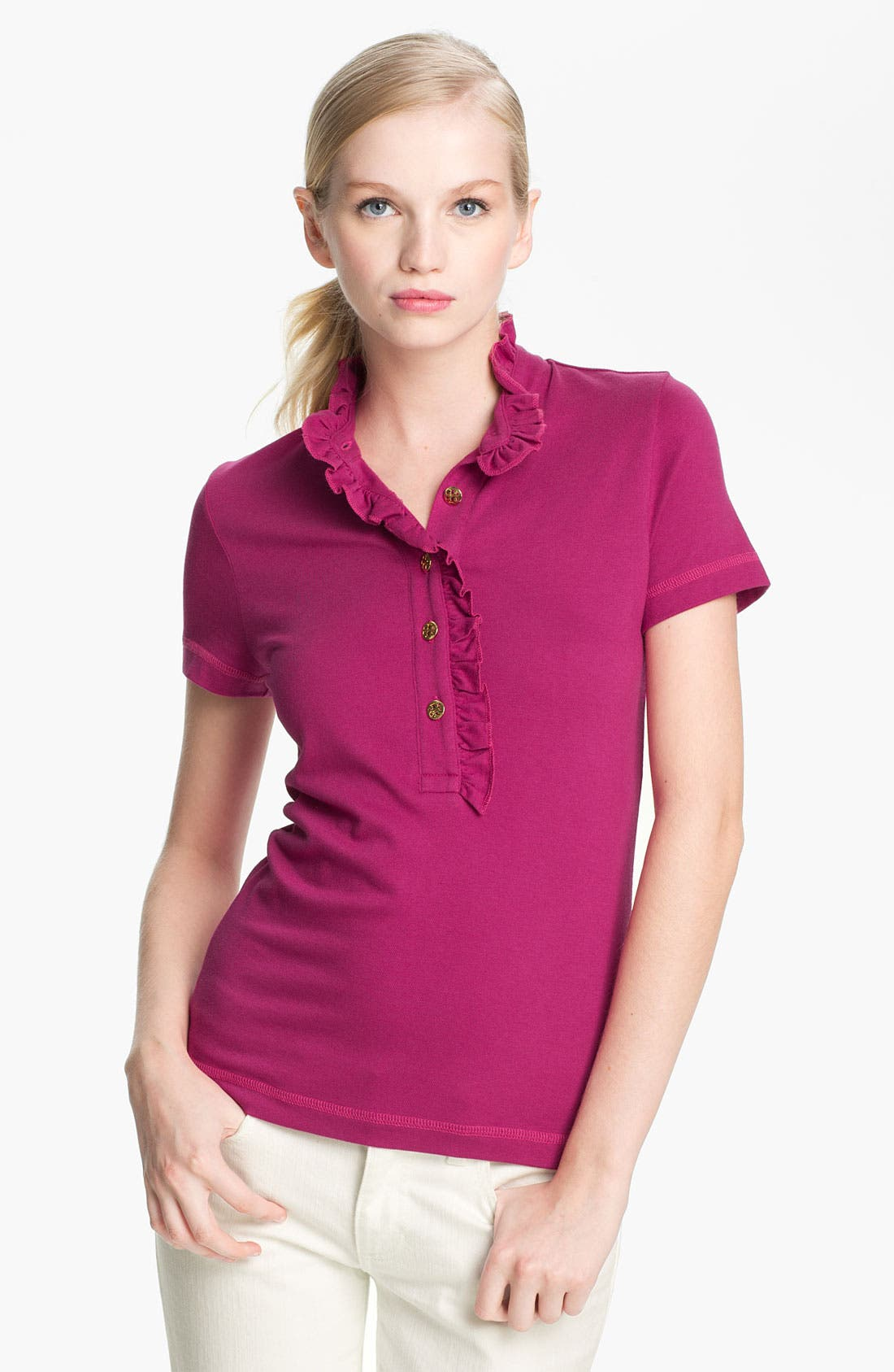 Alternate Image 1 Selected - Tory Burch 'Lidia' Ruffle Polo